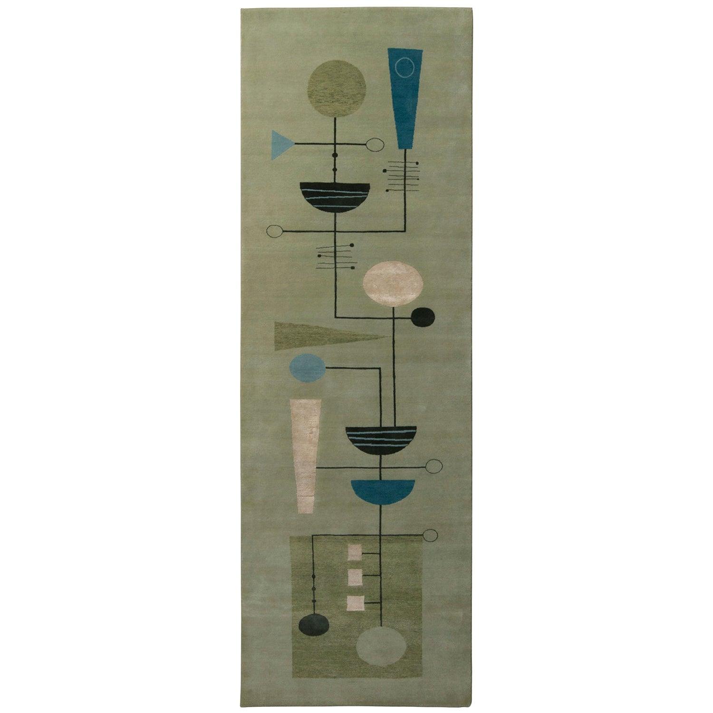 Rug & Kilim's Mid-Century Modern Geometric Green Black and Blue Wool and Silk