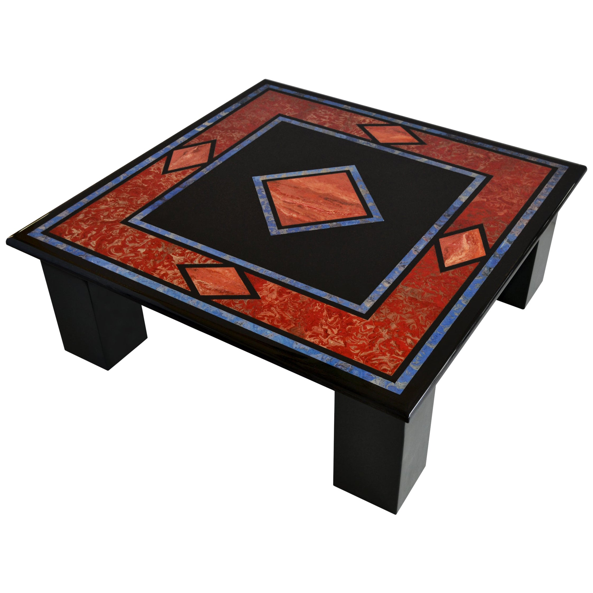 Black Square Coffee Table Inlaid Slate Top Four Slate Columns Handmade in Italy