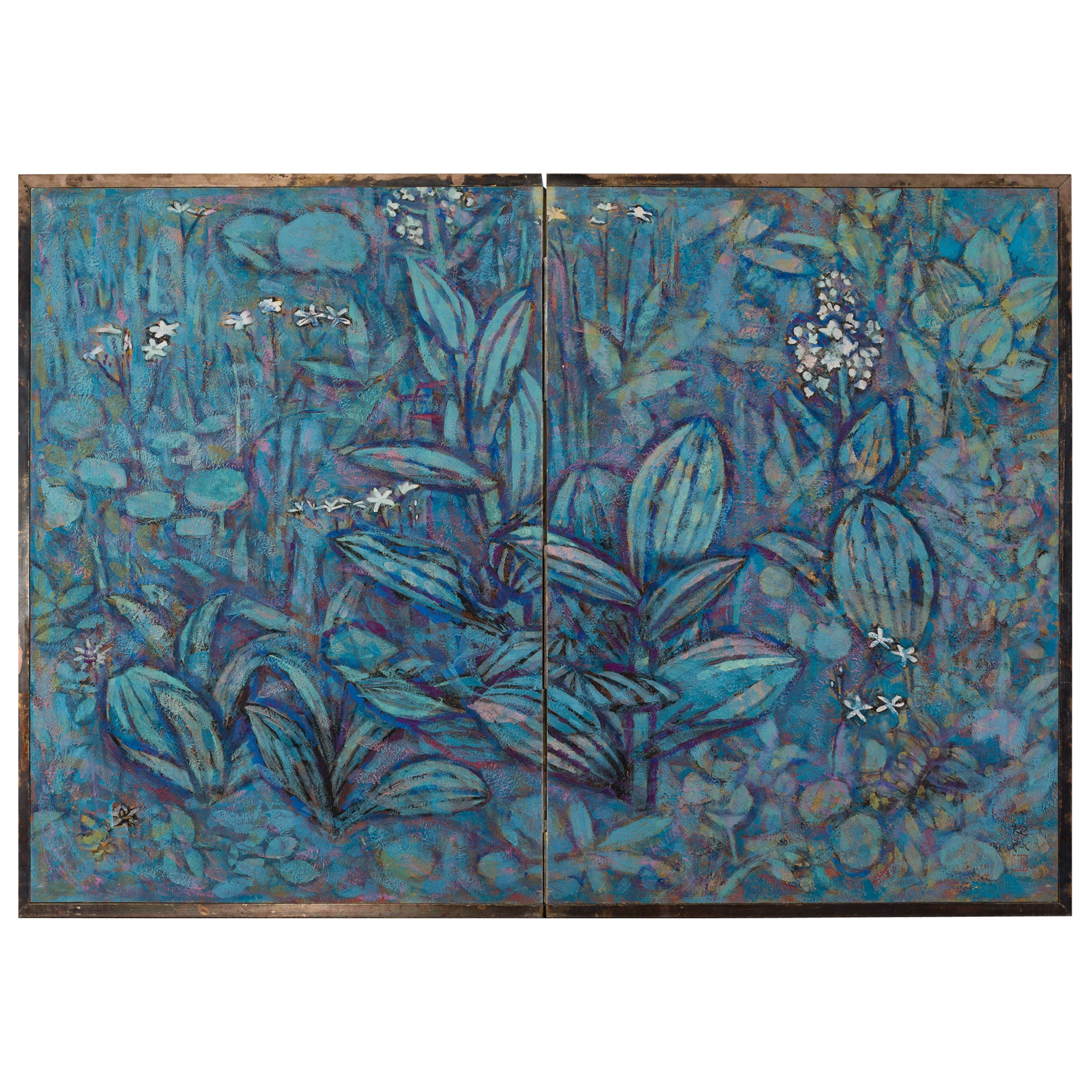 """Japanese Two-Panel Screen """"Flowers of the Highland"""""""