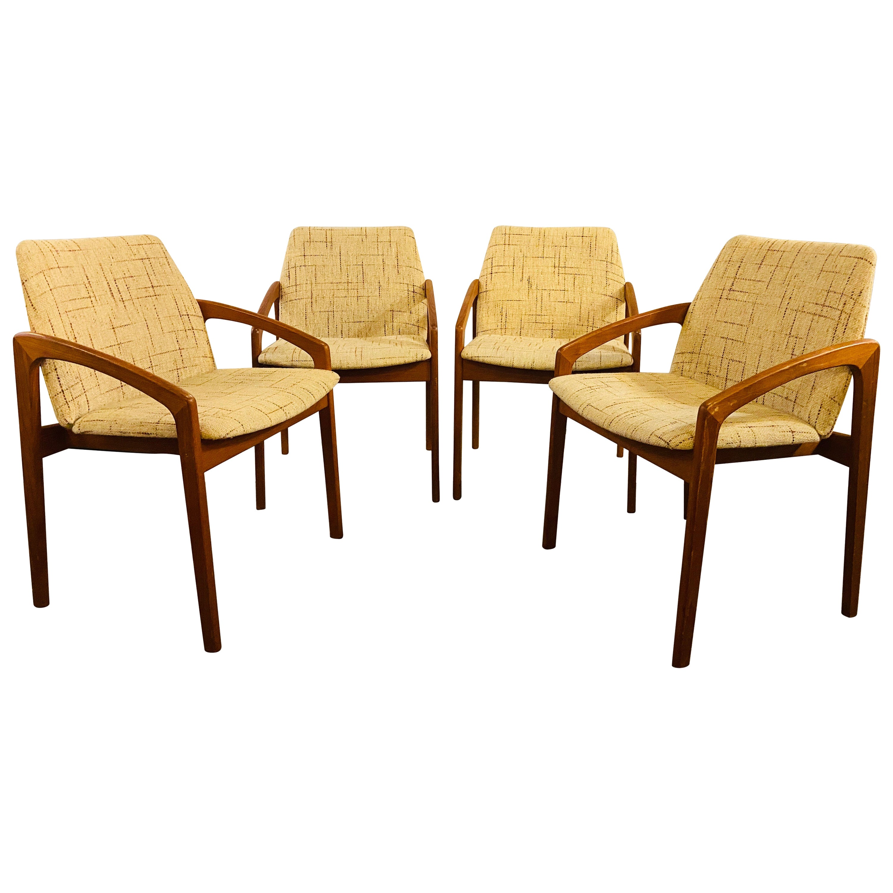 1950s Mid-Century Modern Danish Teak Dining or Side Chairs, Set of Four