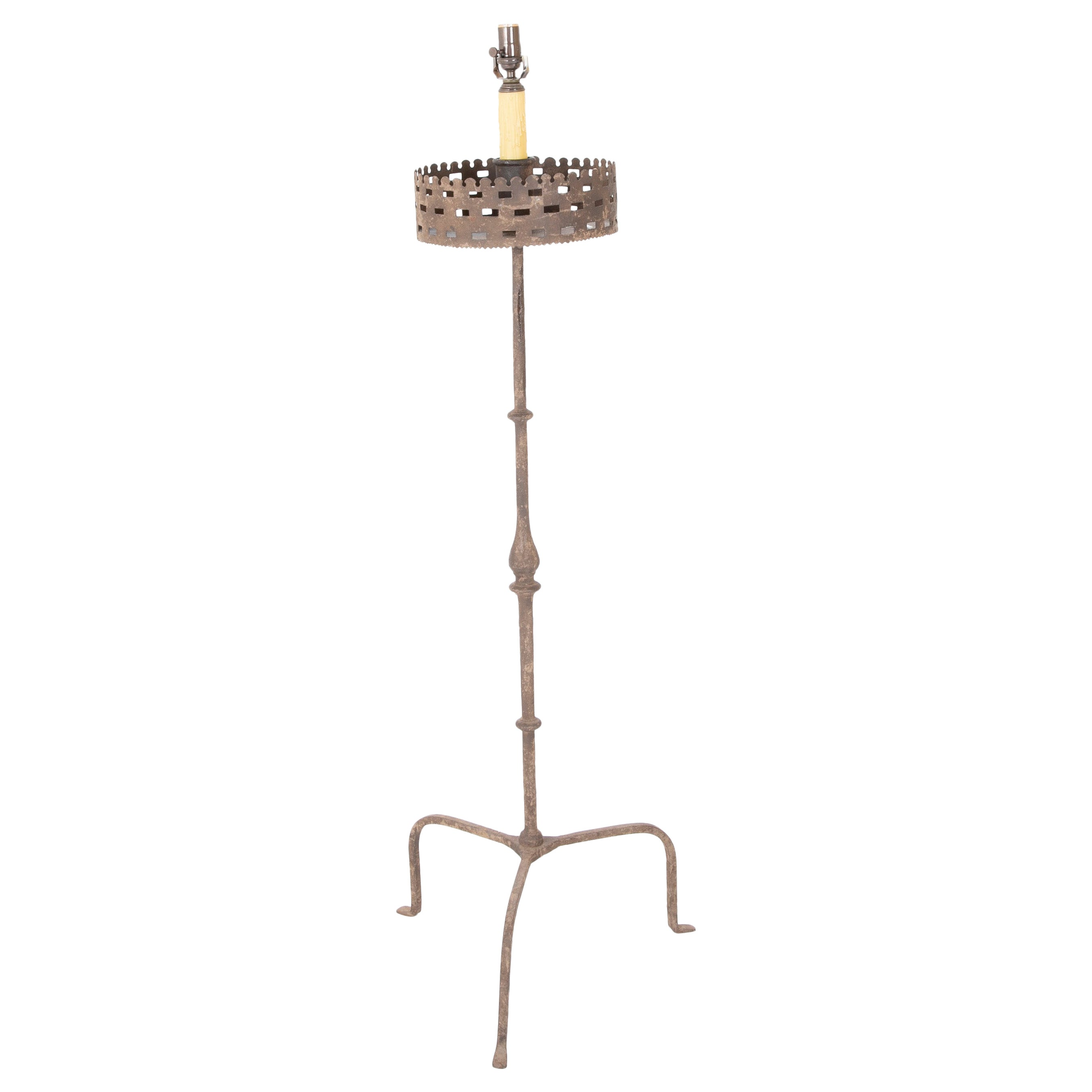 Handwrought Iron Pricket Stick Now as Lamp with Crenalated Bobeche