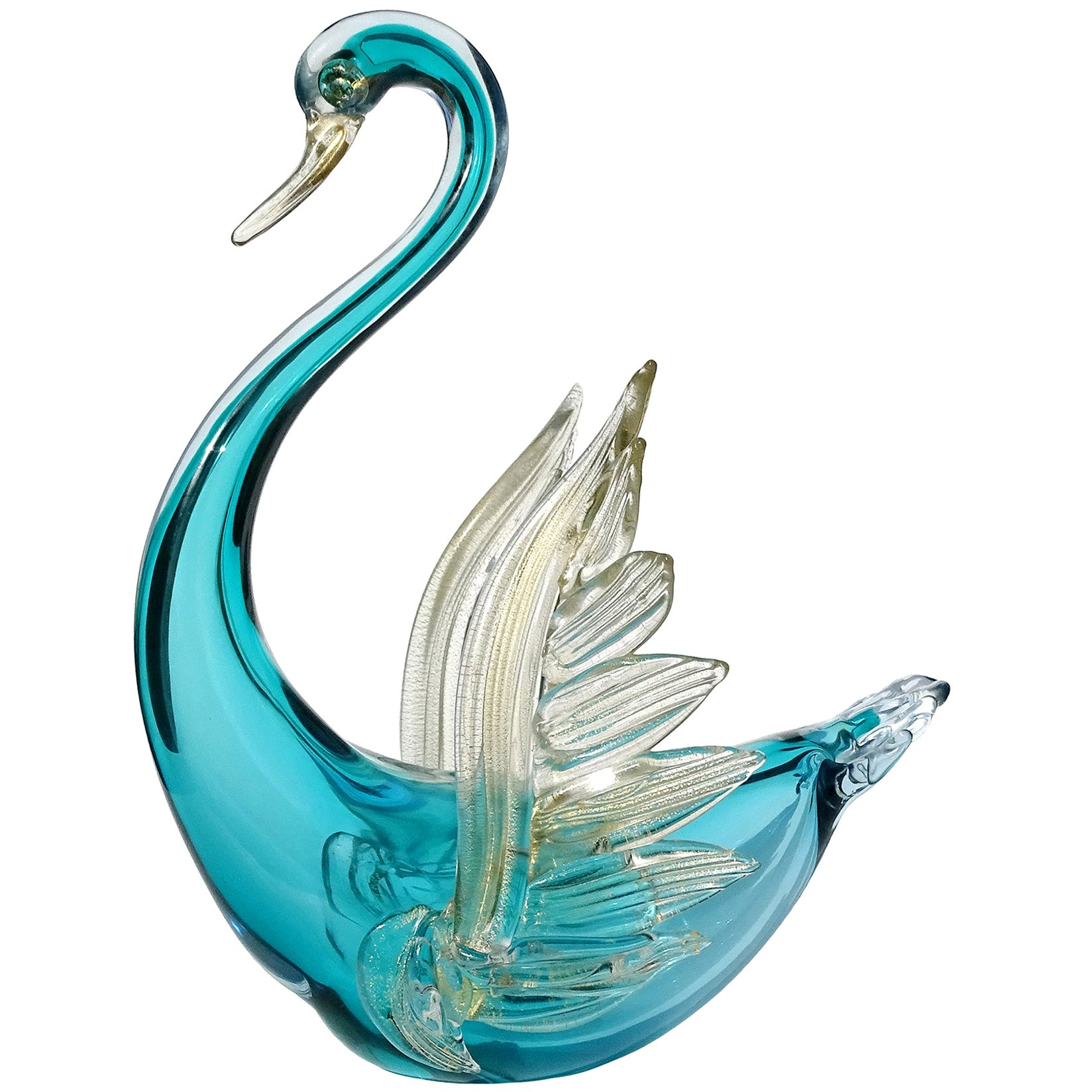 Barbini Murano Sommerso Blue Gold Flecks Italian Art Glass Swan Bird Sculpture
