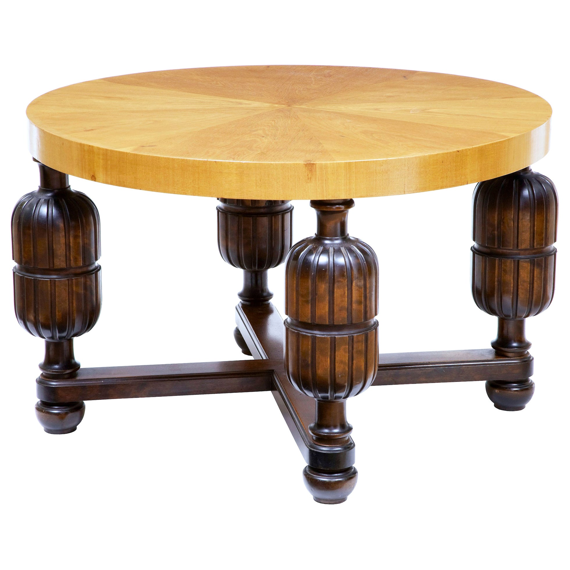 Swedish Art Deco Elm and Birch Coffee Table
