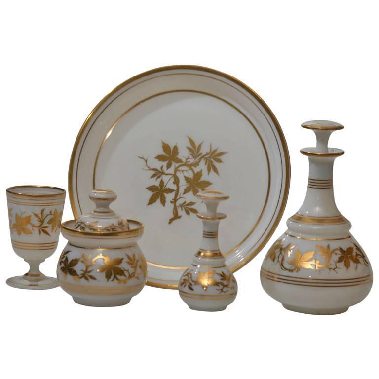 19th Century Baccarat Five-Piece Opaline Water Set with Gilt Enamel Decoration