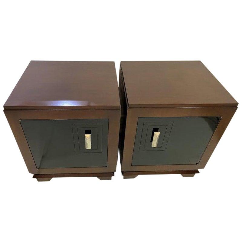 Pair of Art Deco Moderne Nightstands