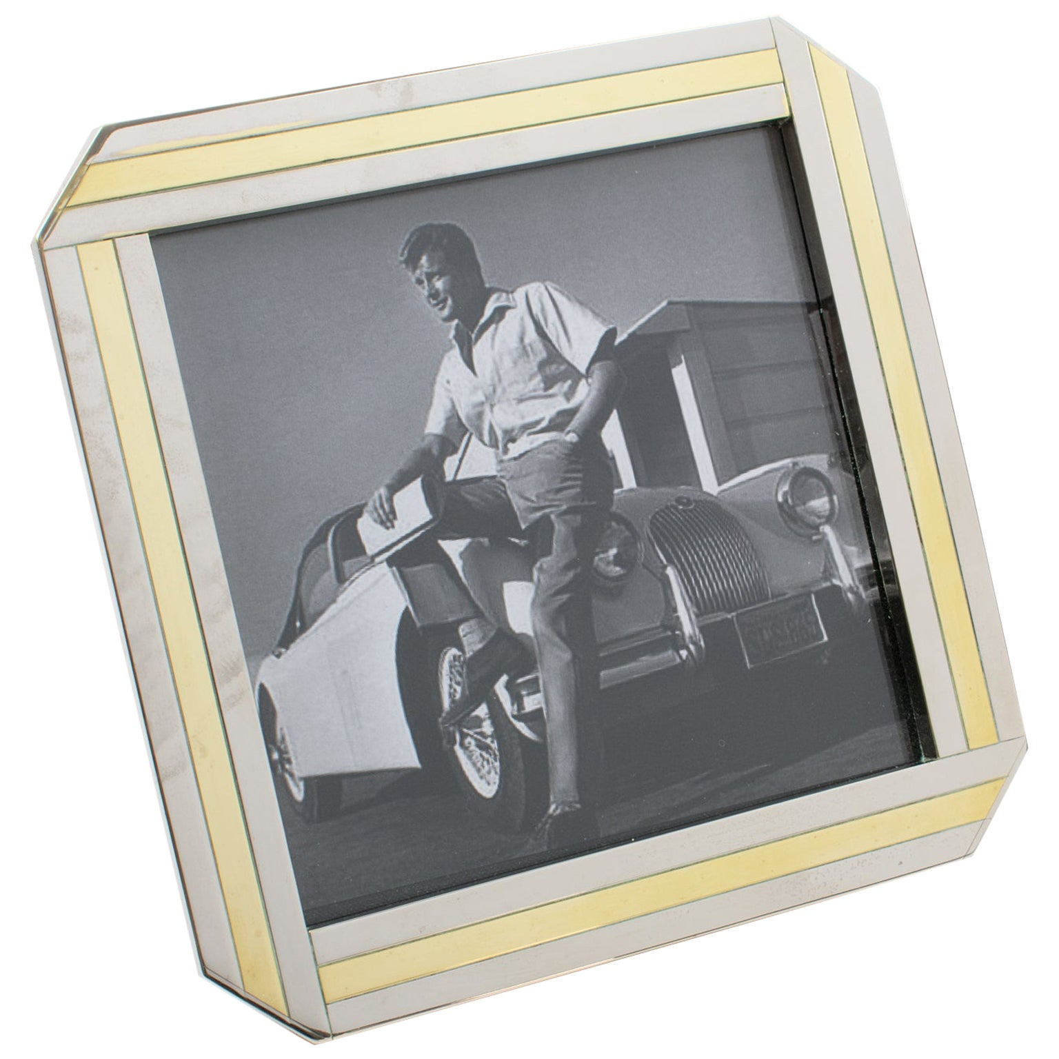 Italian 1970s Picture Frame Chrome and Brass