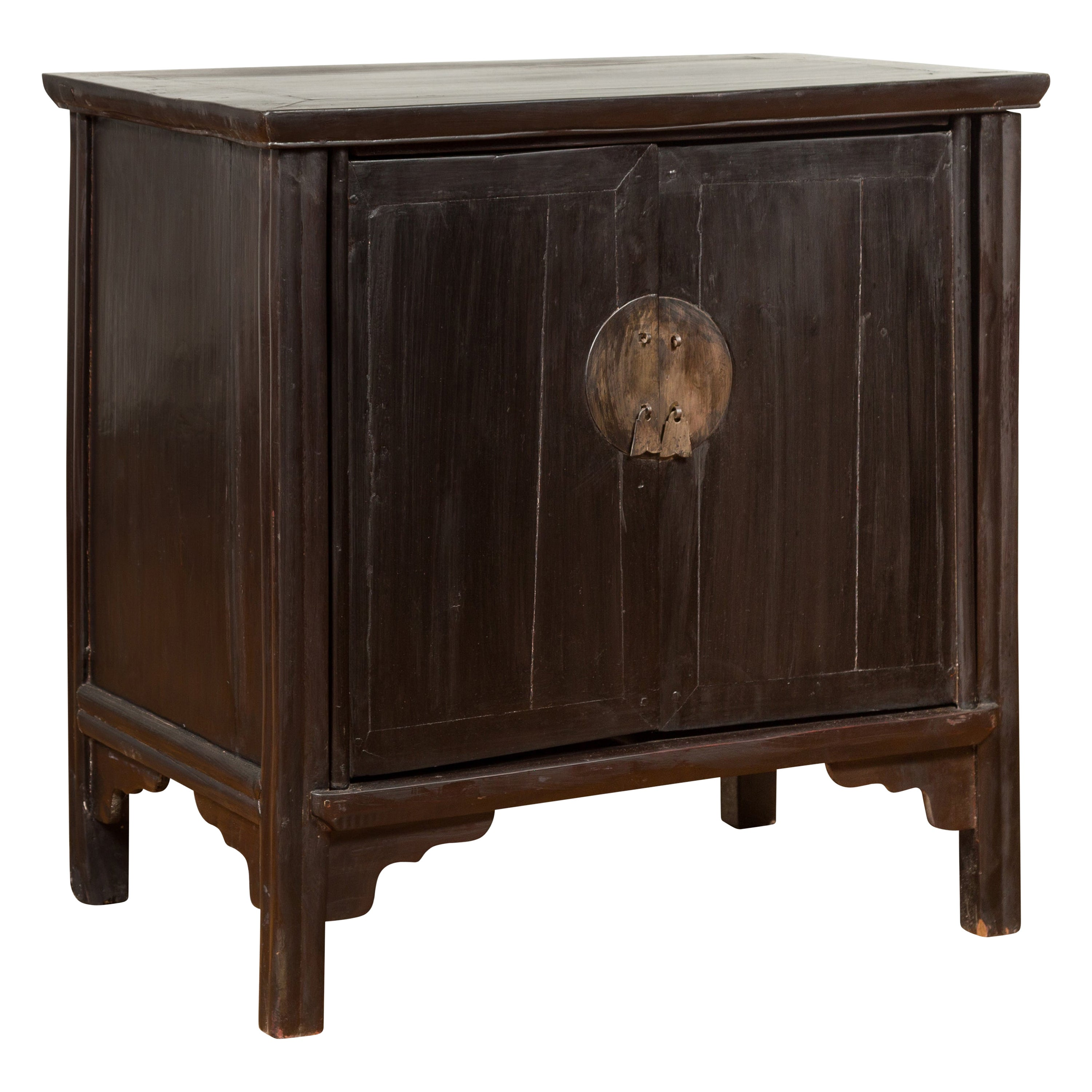 Chinese Vintage Ming Dynasty Style Side Cabinet with Dark Brown Patina