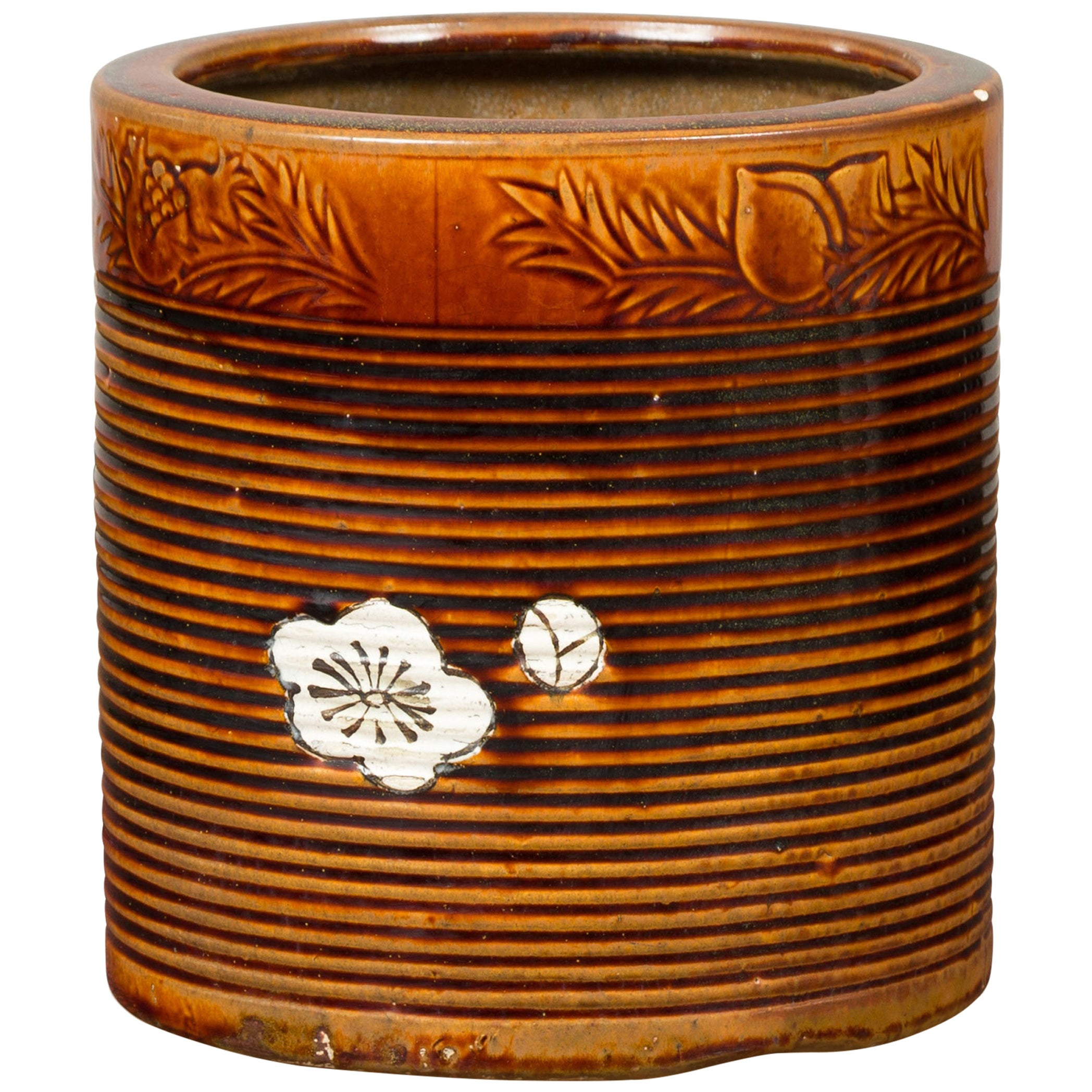 Japanese Meiji Period 19th Century Hibachi Planter with Burnt Patina and Flower