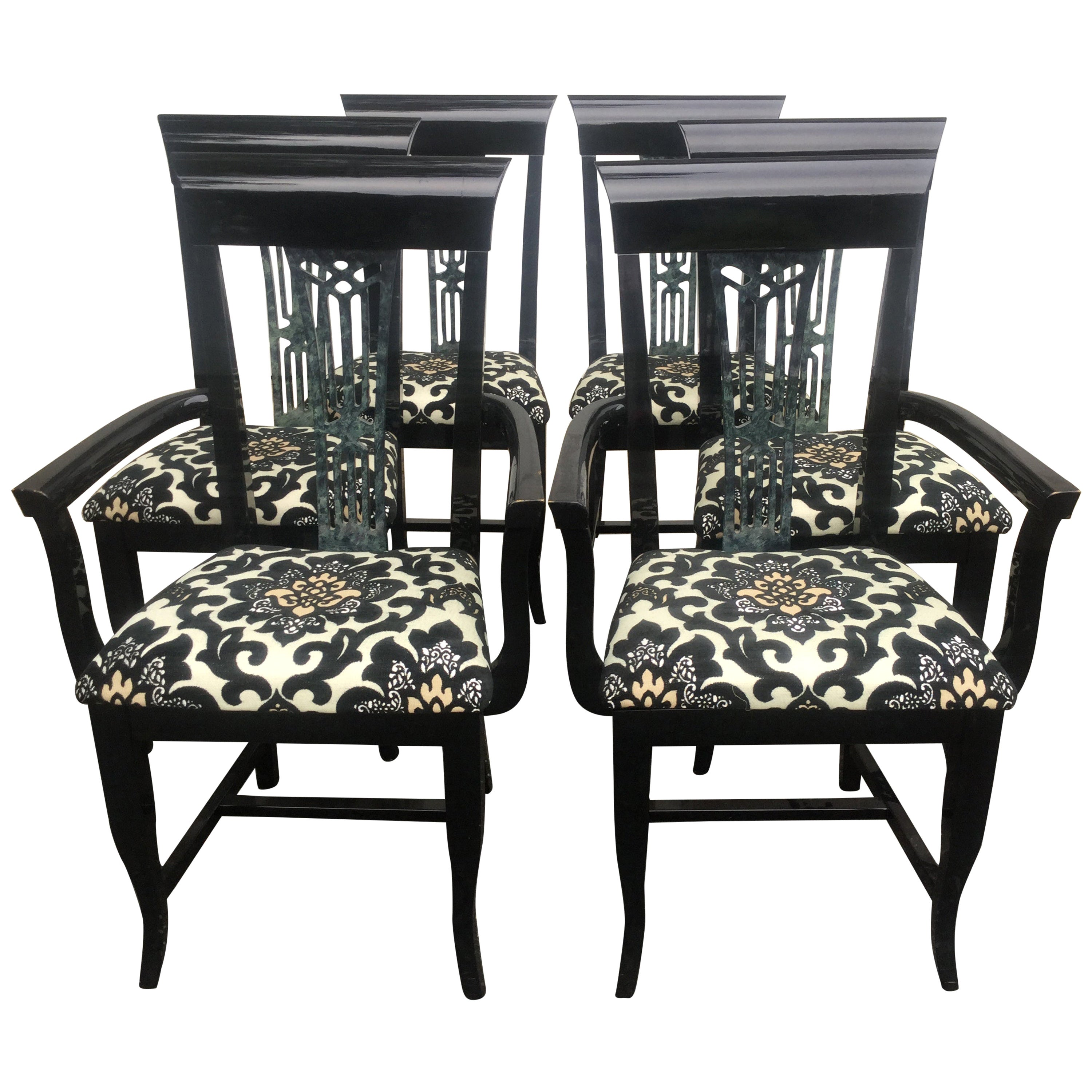 Set of 6 Italian Black Lacquered Chairs