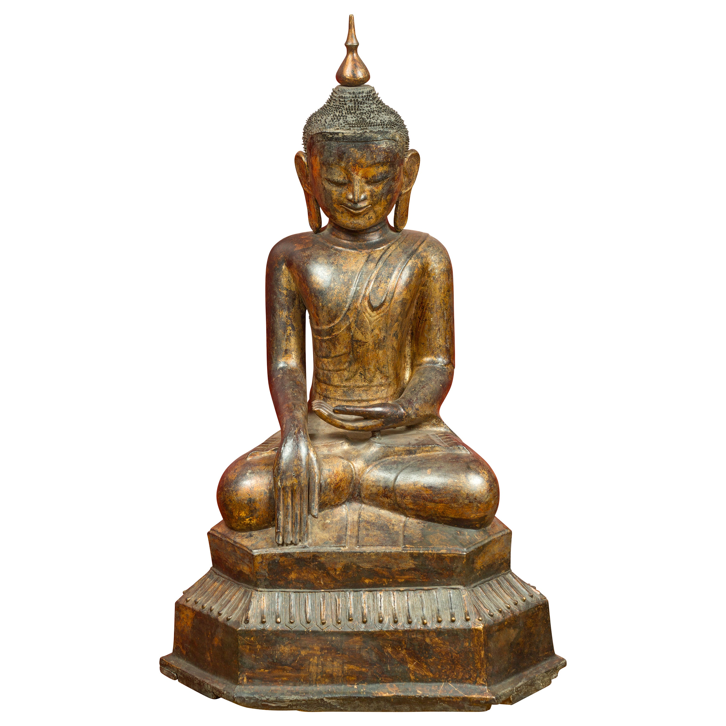 Burmese 17th Century Dry Lacquered and Gilt Buddha Calling the Earth to Witness