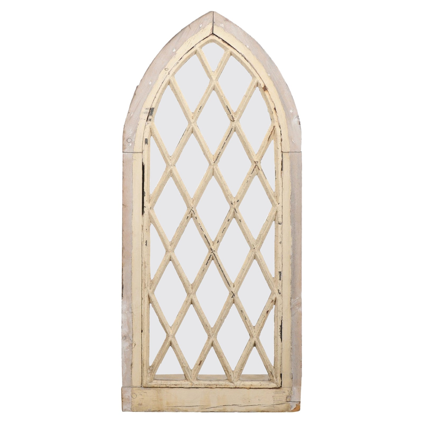 English 19th Century Gothic Revival Broken Arch Church Window with Mullions
