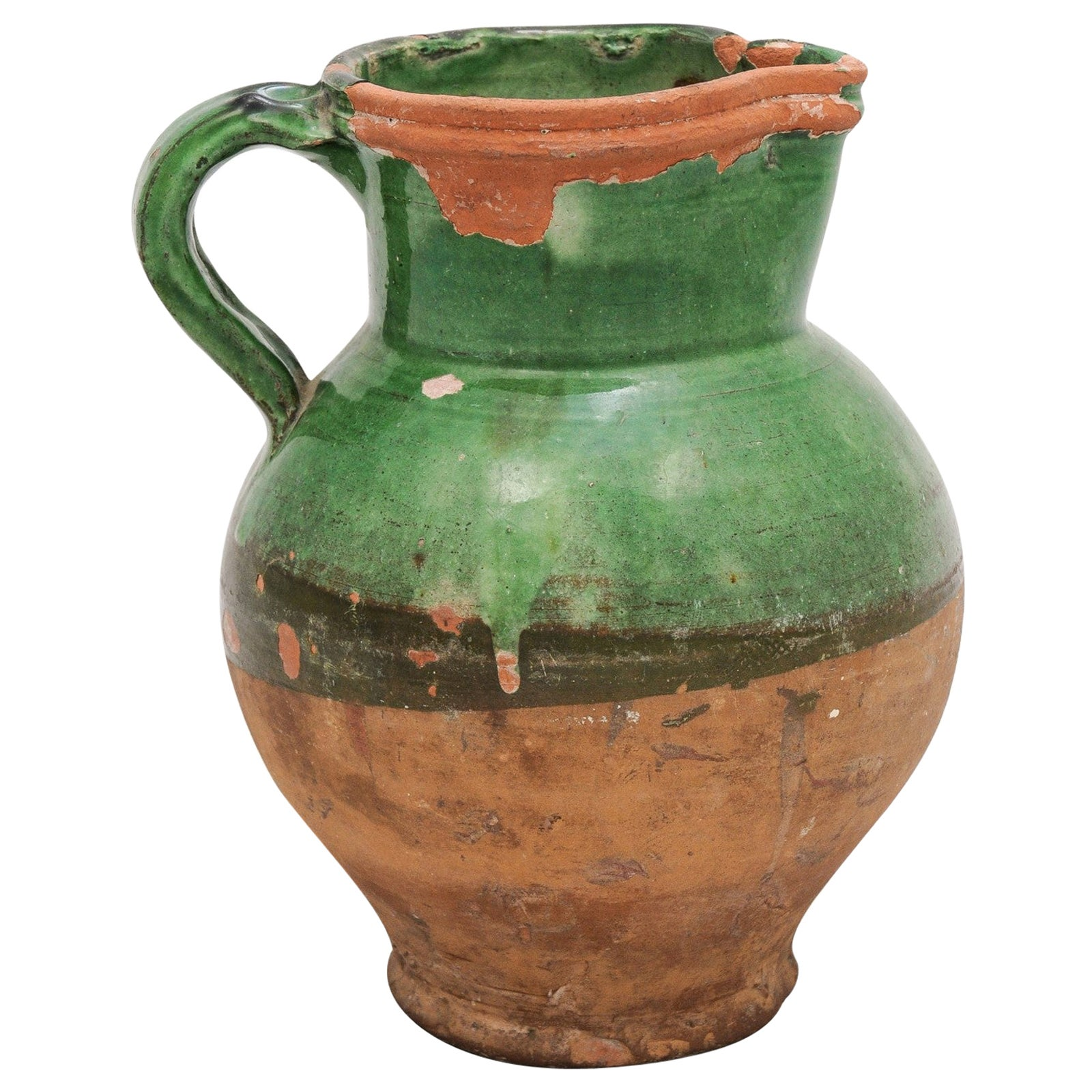 French Provincial 19th Century Green Glazed Pitcher with Distressed Patina