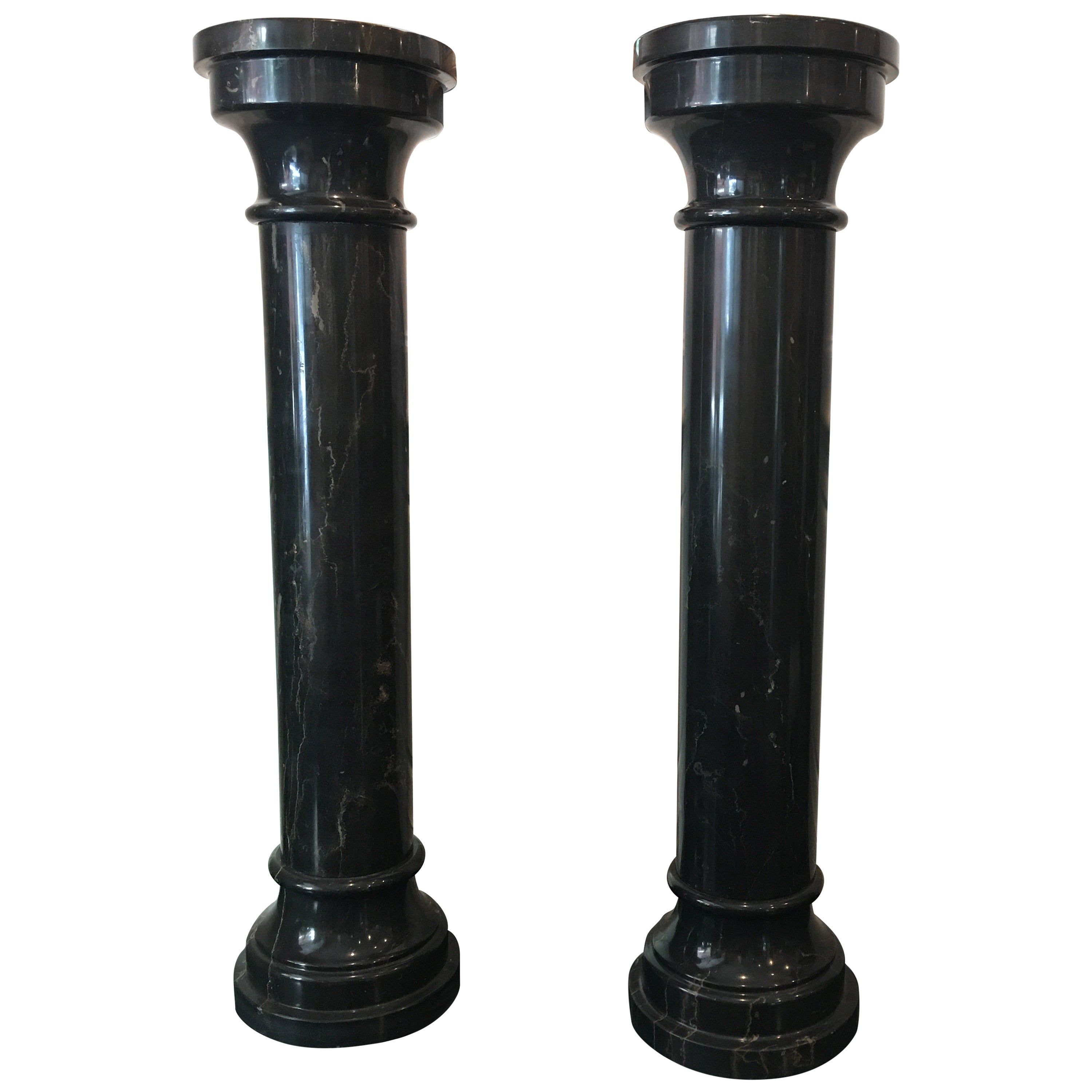 French Pair of Black Marble Columns