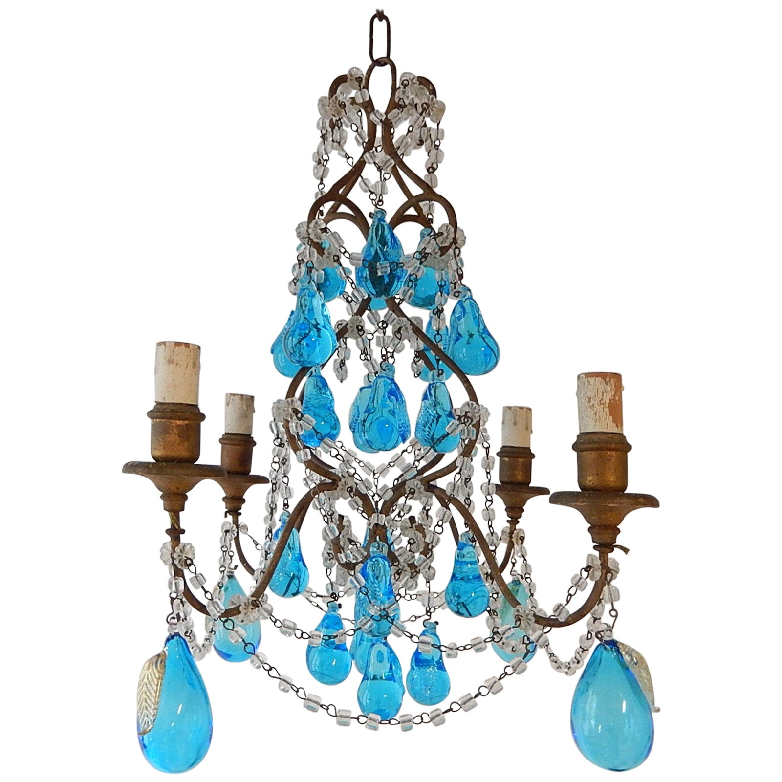 Italian Blue Aqua Murano Huge Blown Pears Crystal Chandelier, circa 1920
