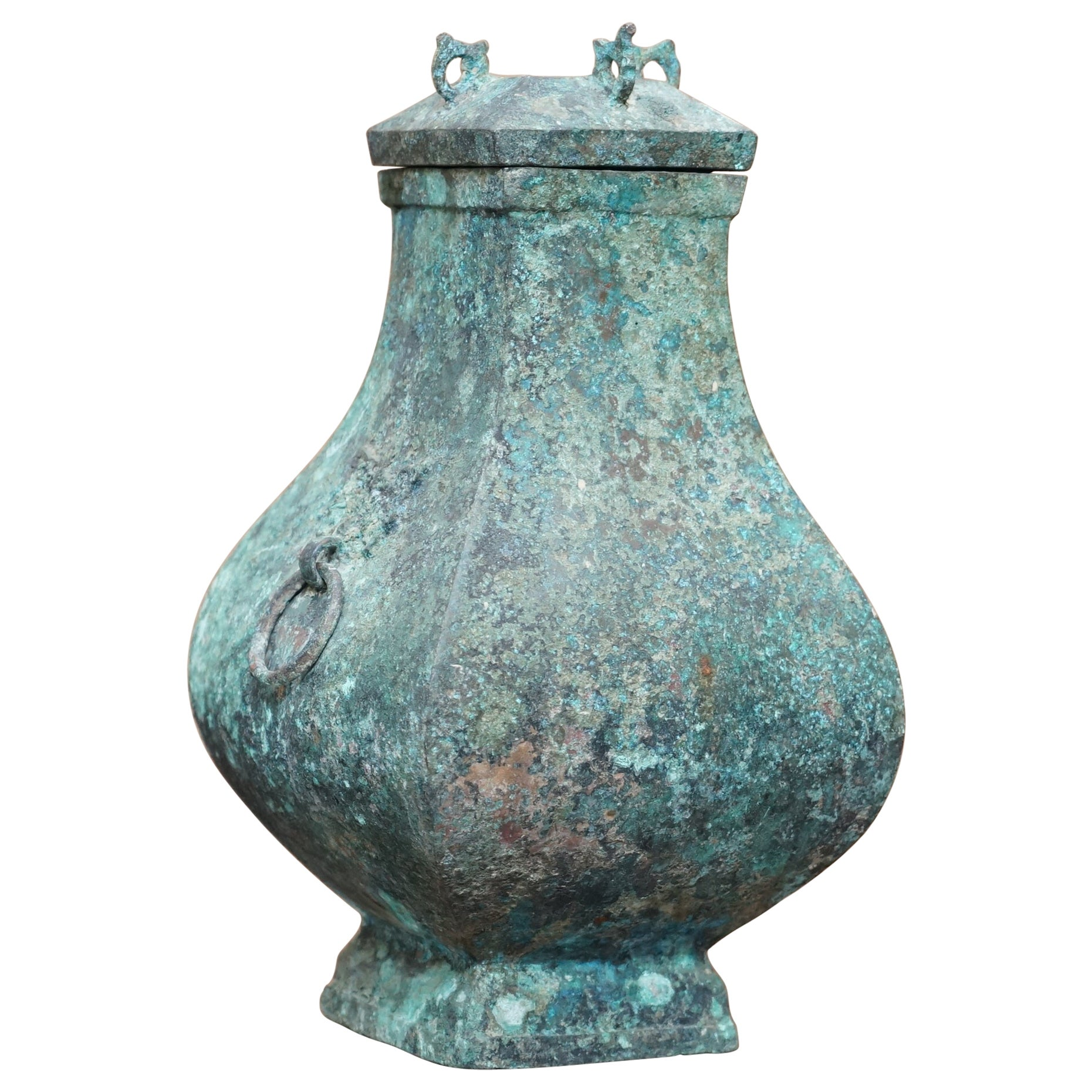 Fanghu Han Dynasty 206BC-220AD Chinese Bronze Ritual Wine Vessel Jug & Cover