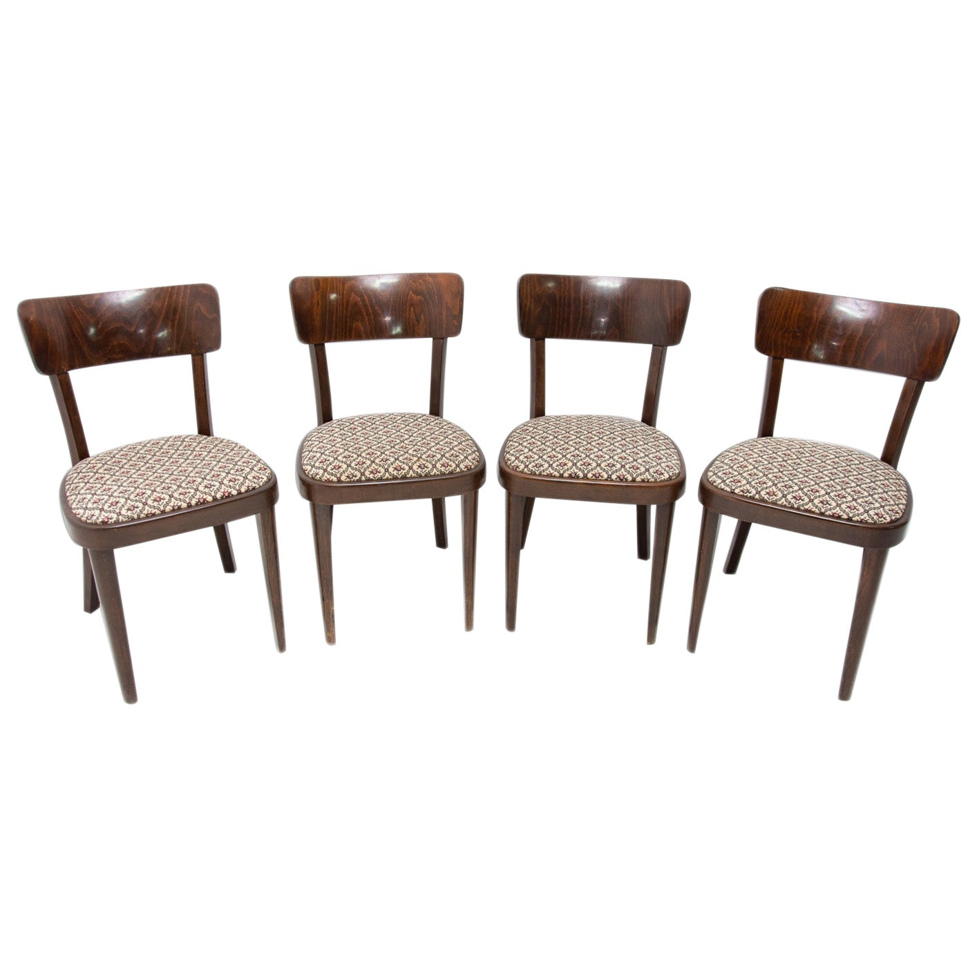 Set of Four Thonet Dining Chairs, Czechoslovakia, 1950s