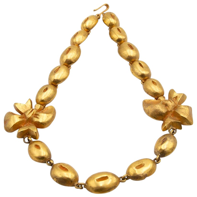 """Line Vautrin, France, """"Flowers and Coffee Beans"""" Necklace Gilded Bronze"""