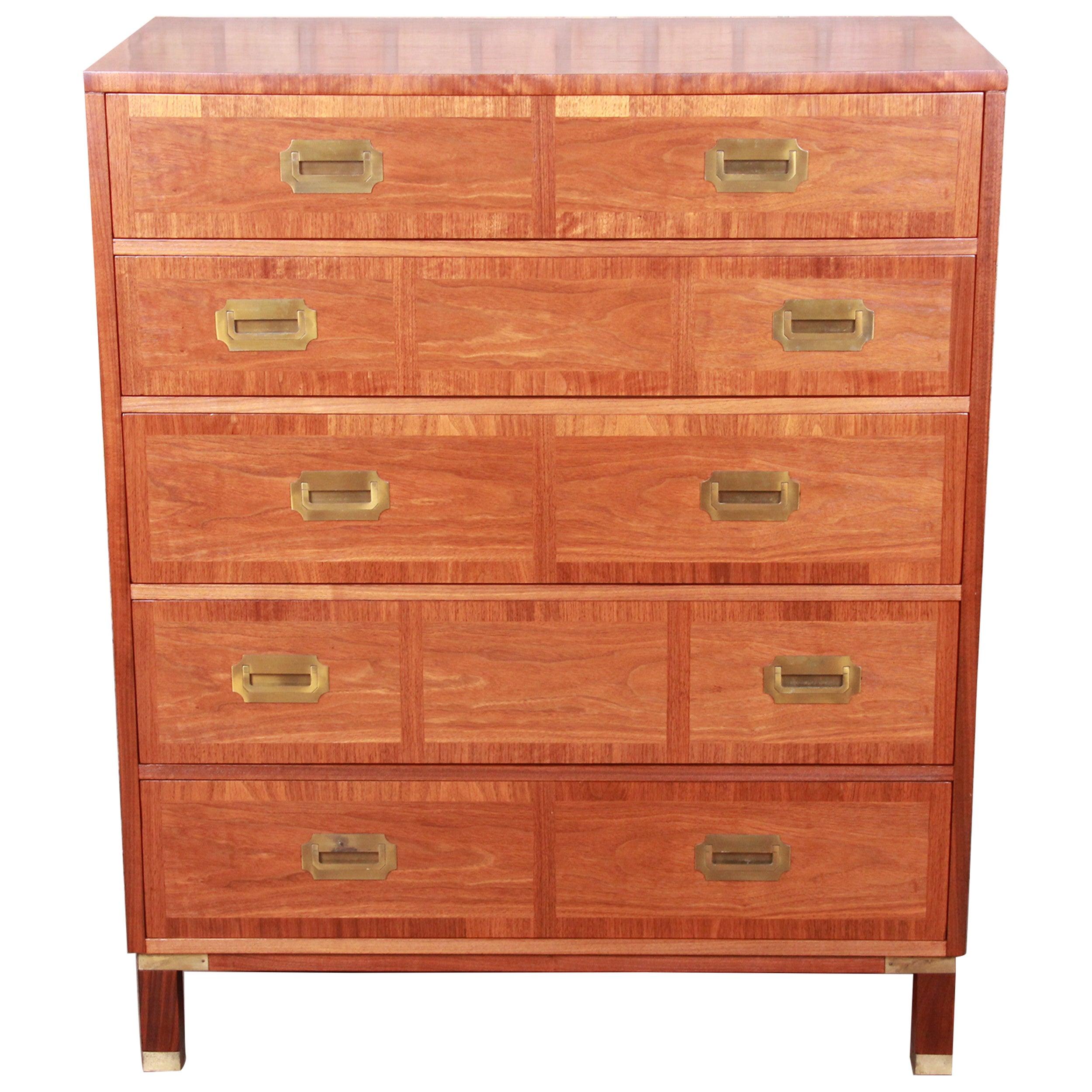 Baker Furniture Hollywood Regency Campaign Walnut Highboy Dresser, Refinished