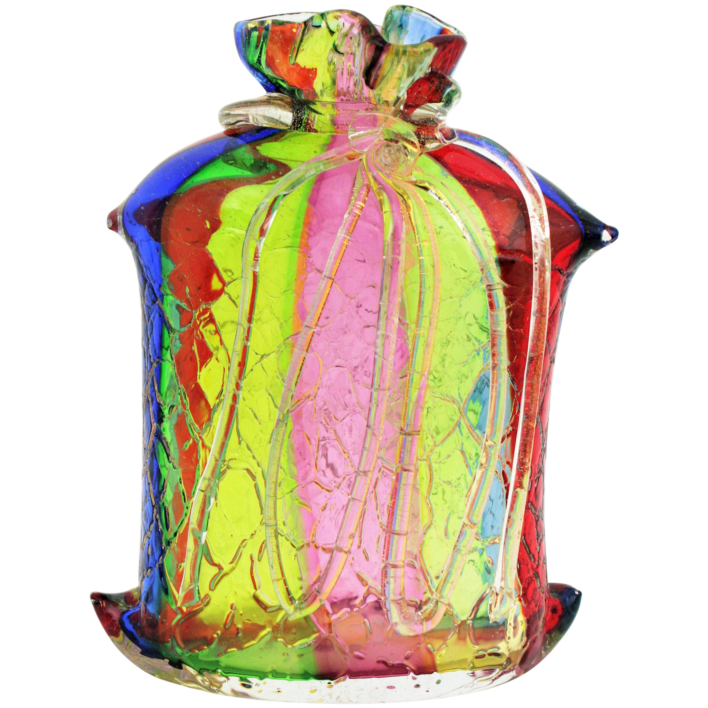 Fratelli Toso Murano Rainbow Ribbons Glass Vase with Gold Flecks
