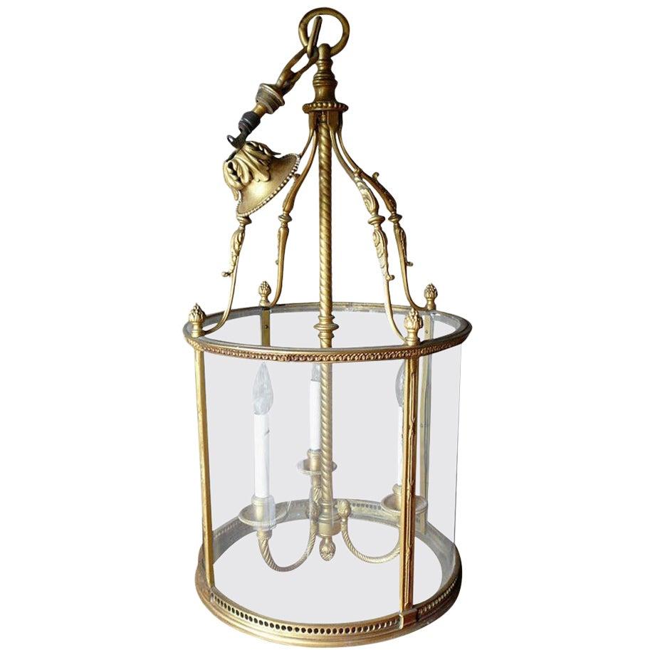 Louis XVI Style Neoclassical Gilded Bronze Glass Lantern