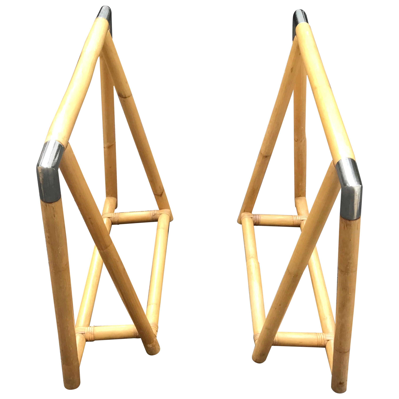 Bamboo and Chrome Sawhorse Table Base