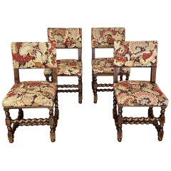 Set of Four 19th Century French Renaissance Barley Twist Chairs with Tapestry