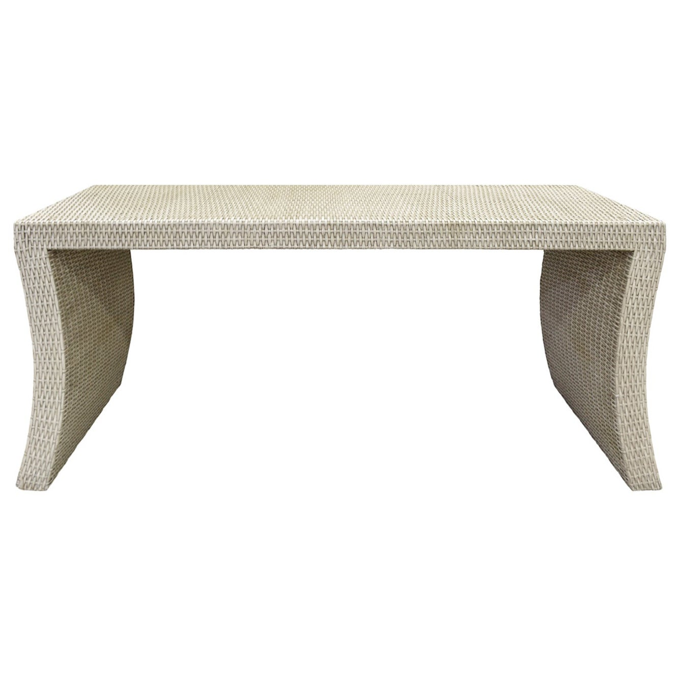 Console Table in Wicker in the Style of Karl Springer, 1970s