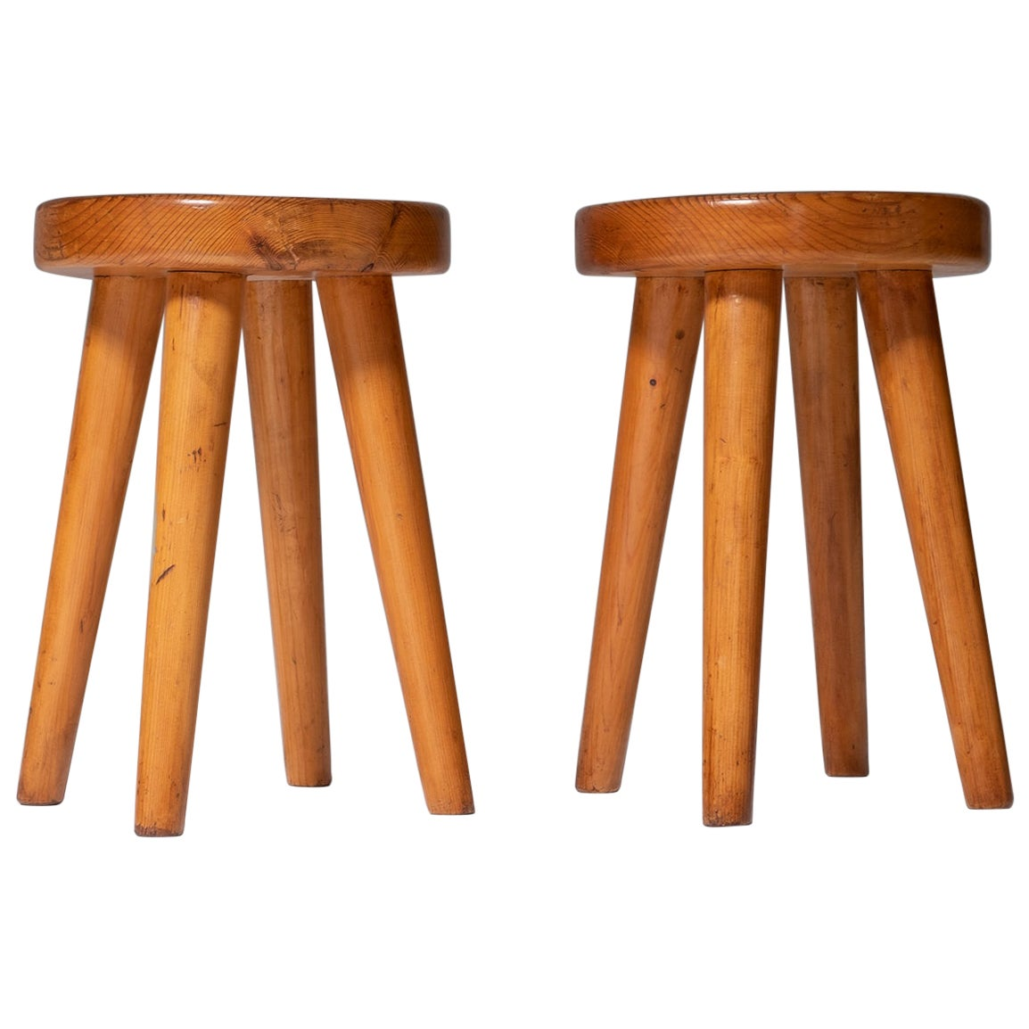 Pair of French Mid-Century Modern Stools in Solid Pine