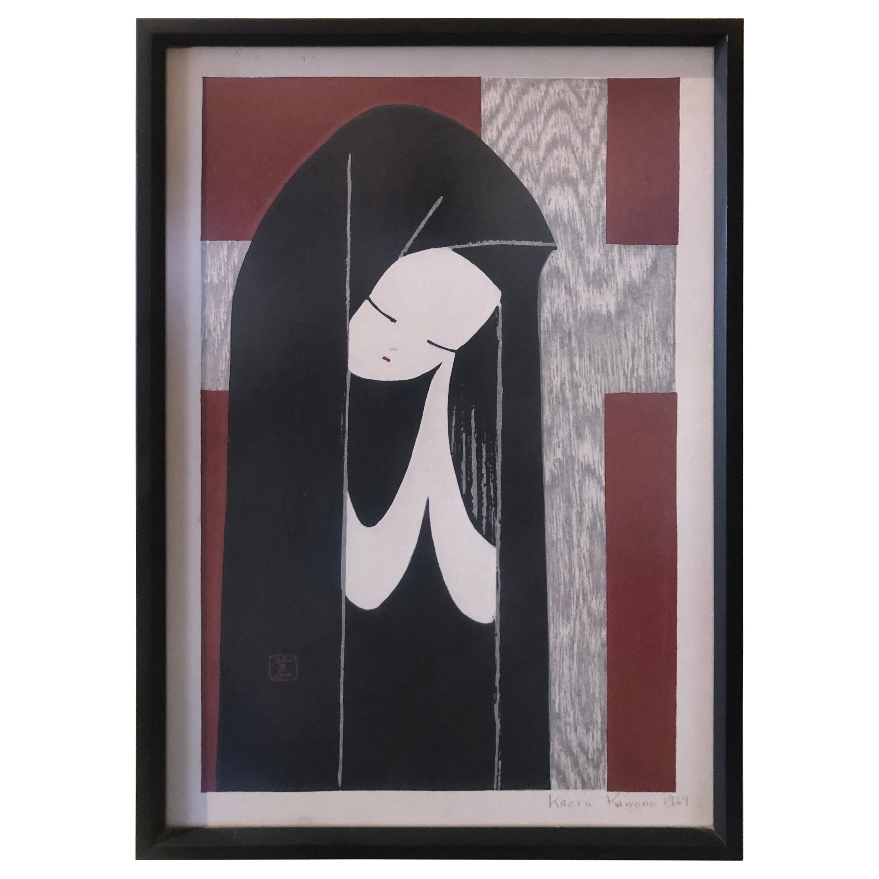 Midcentury Wood Block Print of Young Woman Praying by Kaoru Kawano