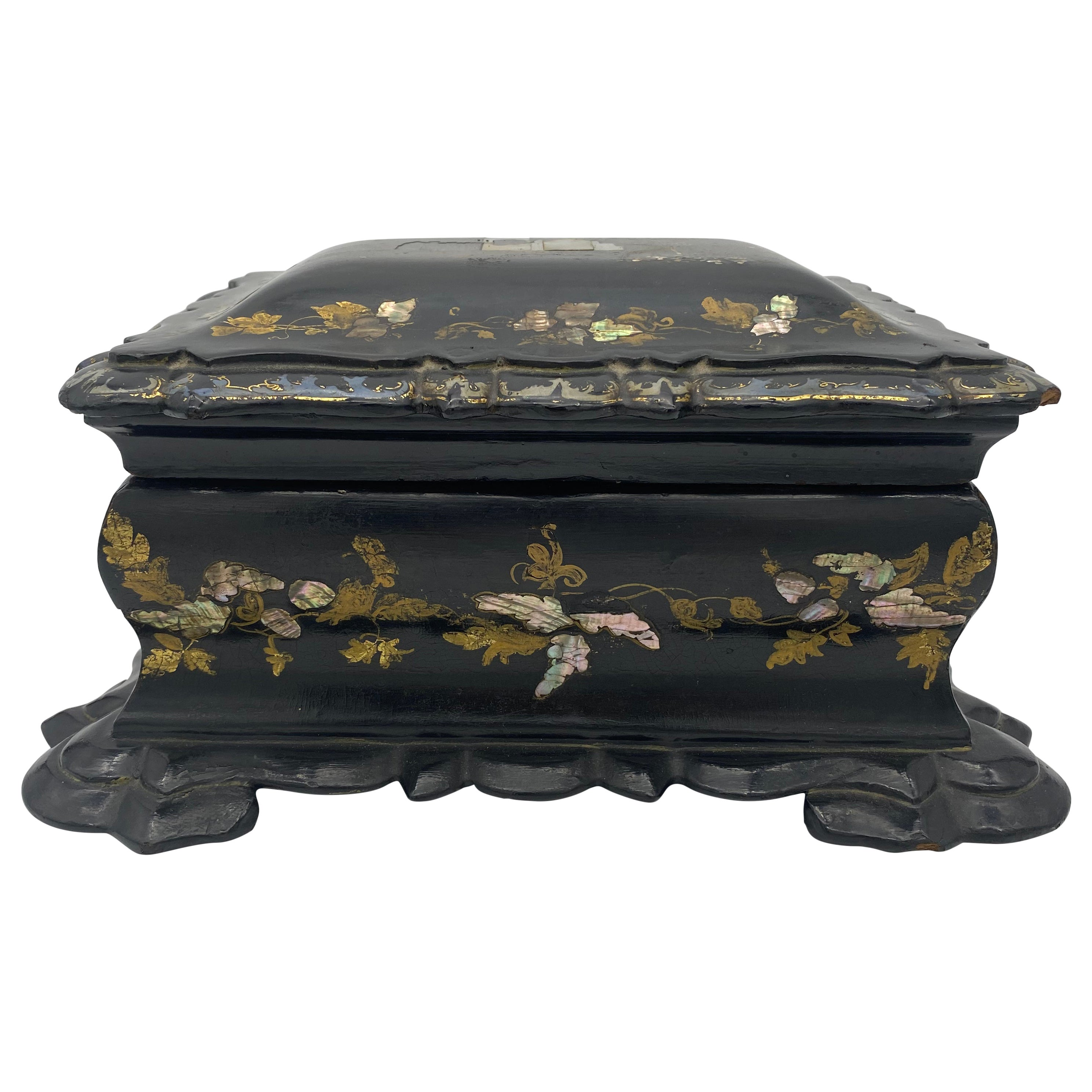 19th Century Chinese Black Lacquer Tea Caddy