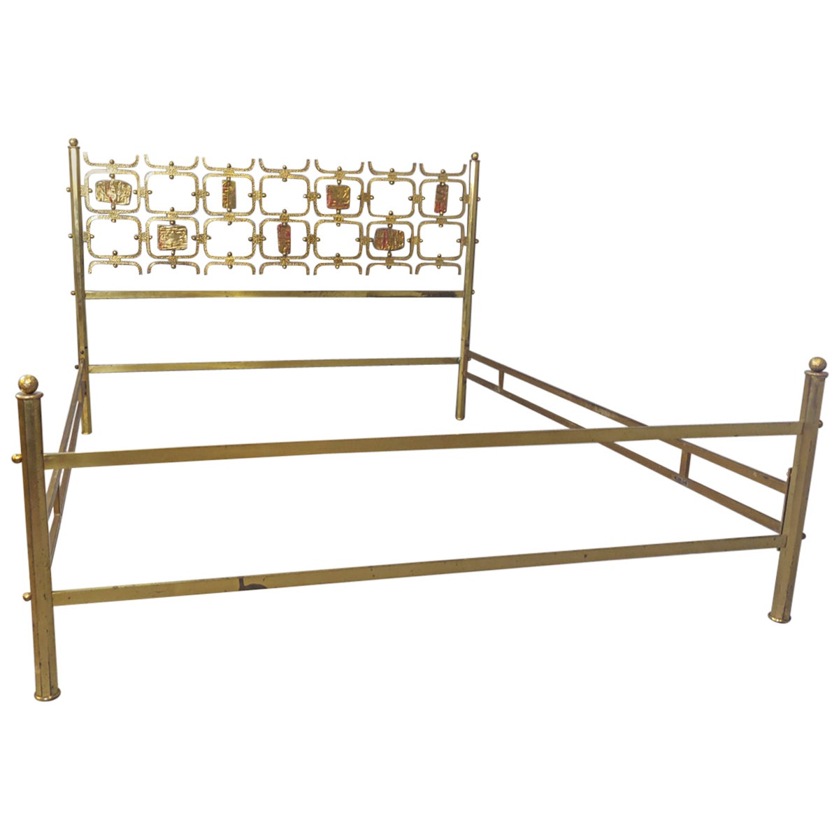 Osvaldo Borsani Brass Double Bed, Italy, 1960s