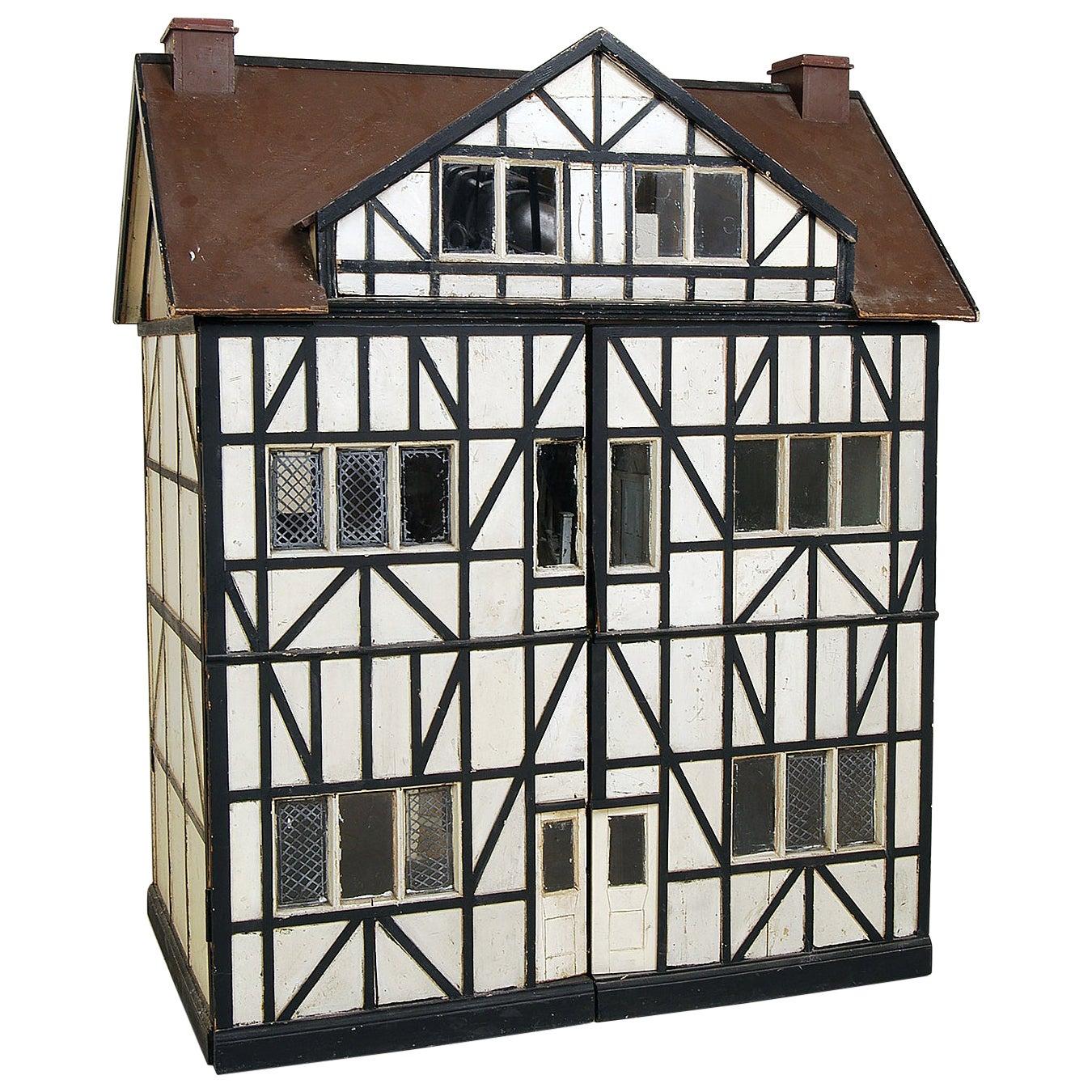 Large Antique Scratch-Built Model English Tudor Mansion Wooden Doll's House