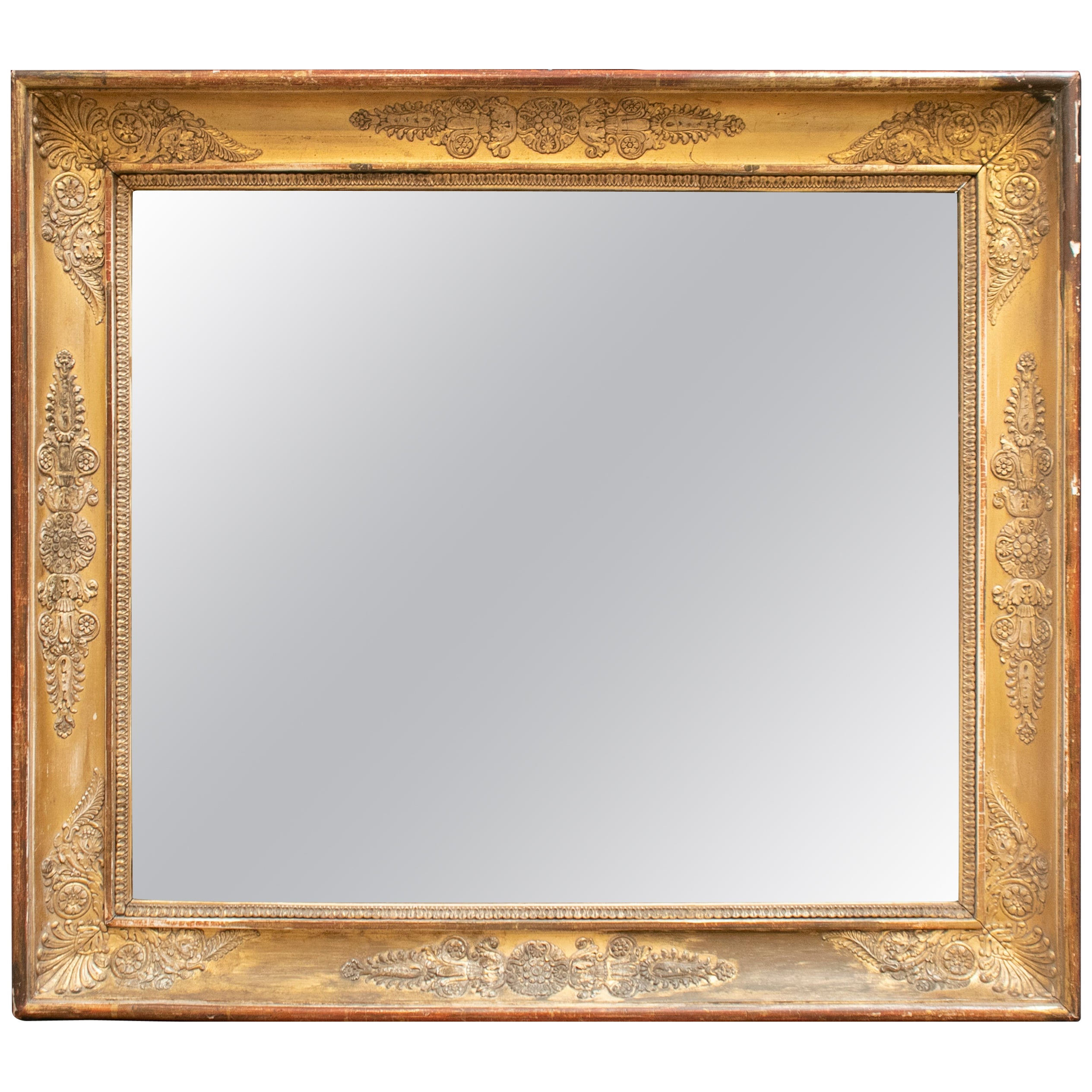 19th Century French Mirror with Wooden Flower Decorated Golden Frame