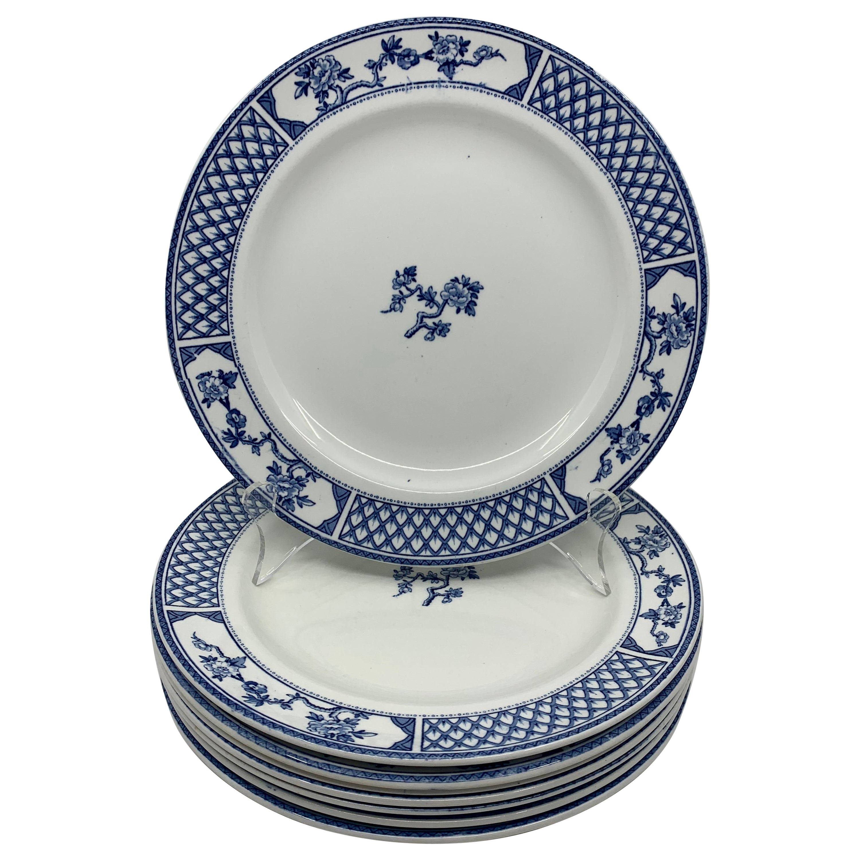 Set of Eight Blue and White Exeter Plates
