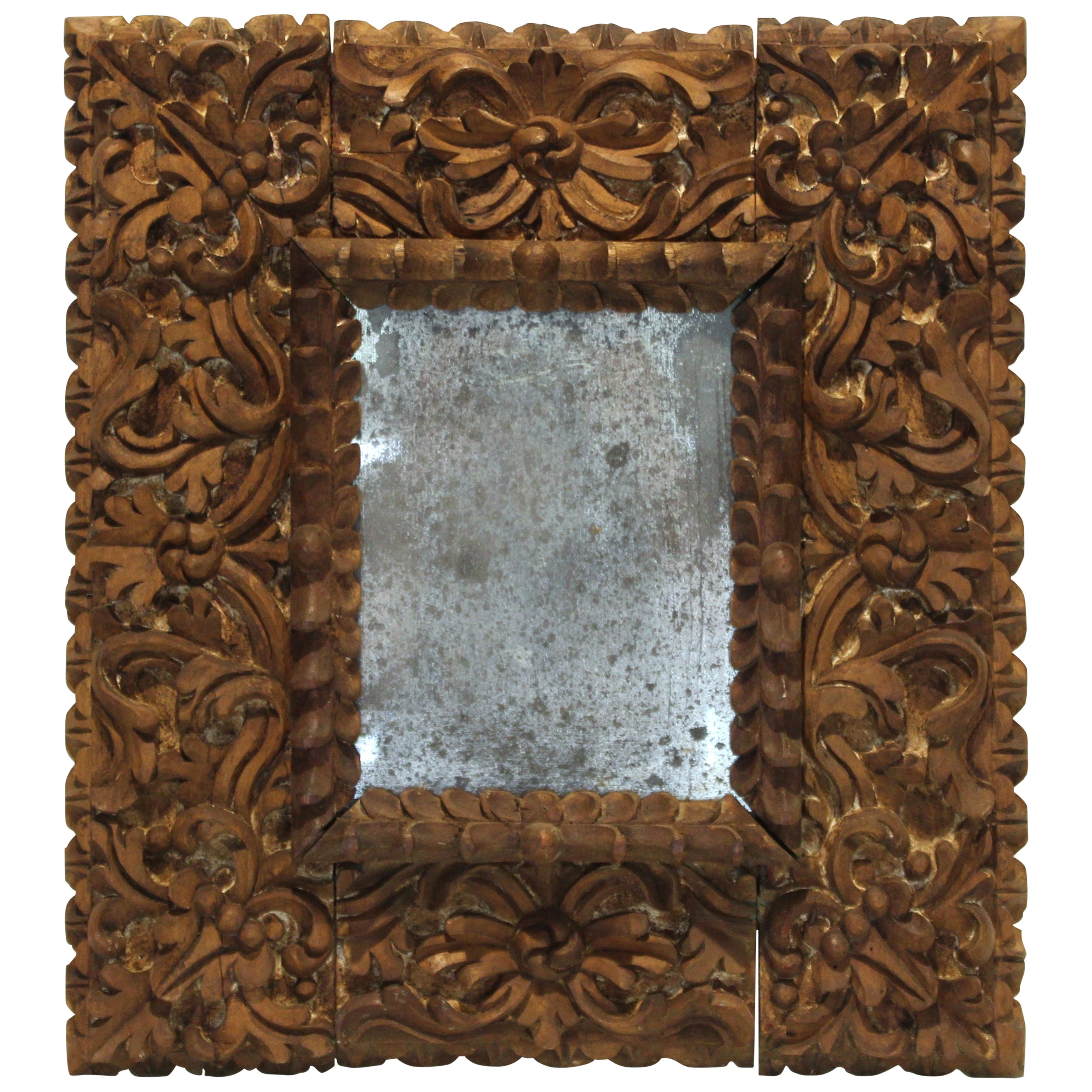 Spanish Colonial Baroque Deeply Carved Relief Mirror or Picture Frame