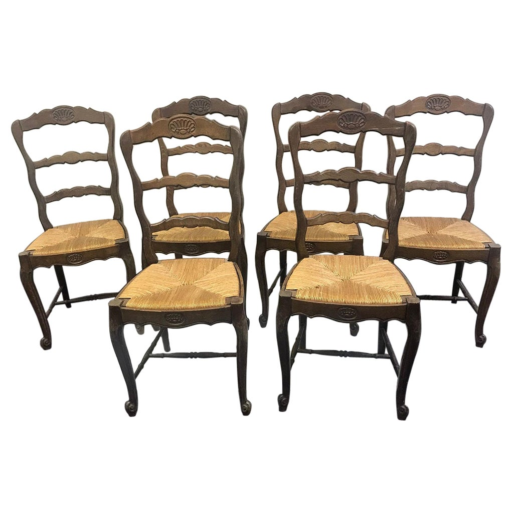 Set of 6 Early 20th Century French Oak with Rush Seat Side Chairs