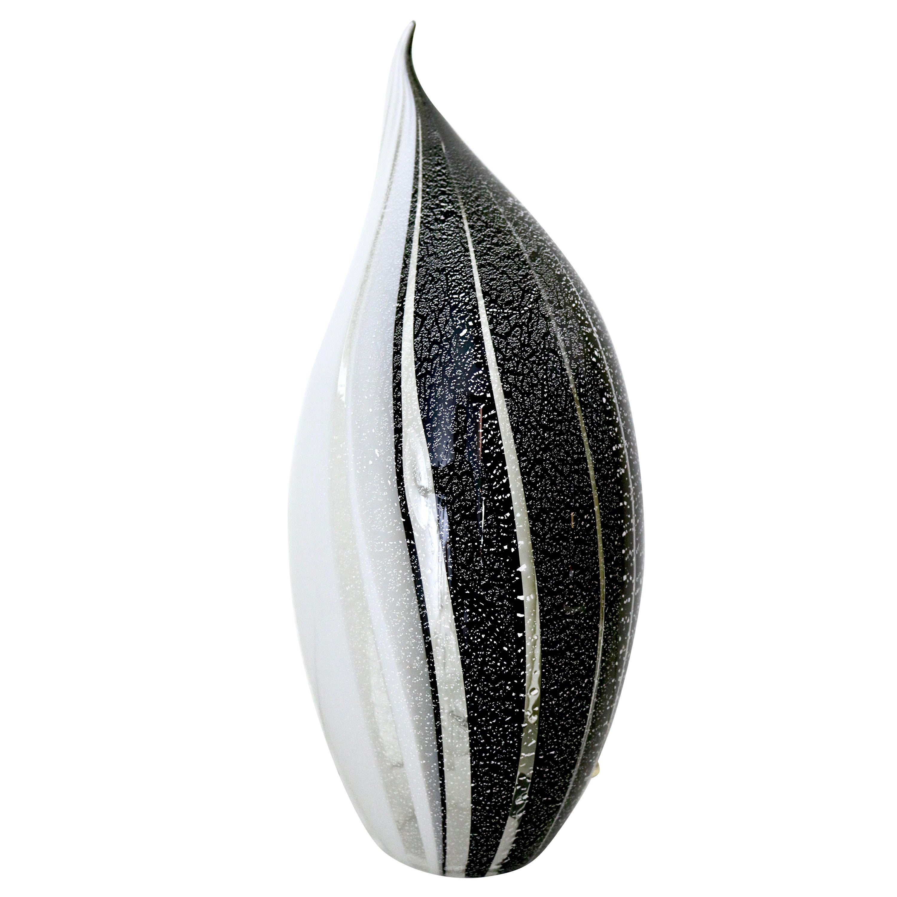 Black and White Penguin Murano Glass Table Lamp with Silver Flakes, Italy, 1980s