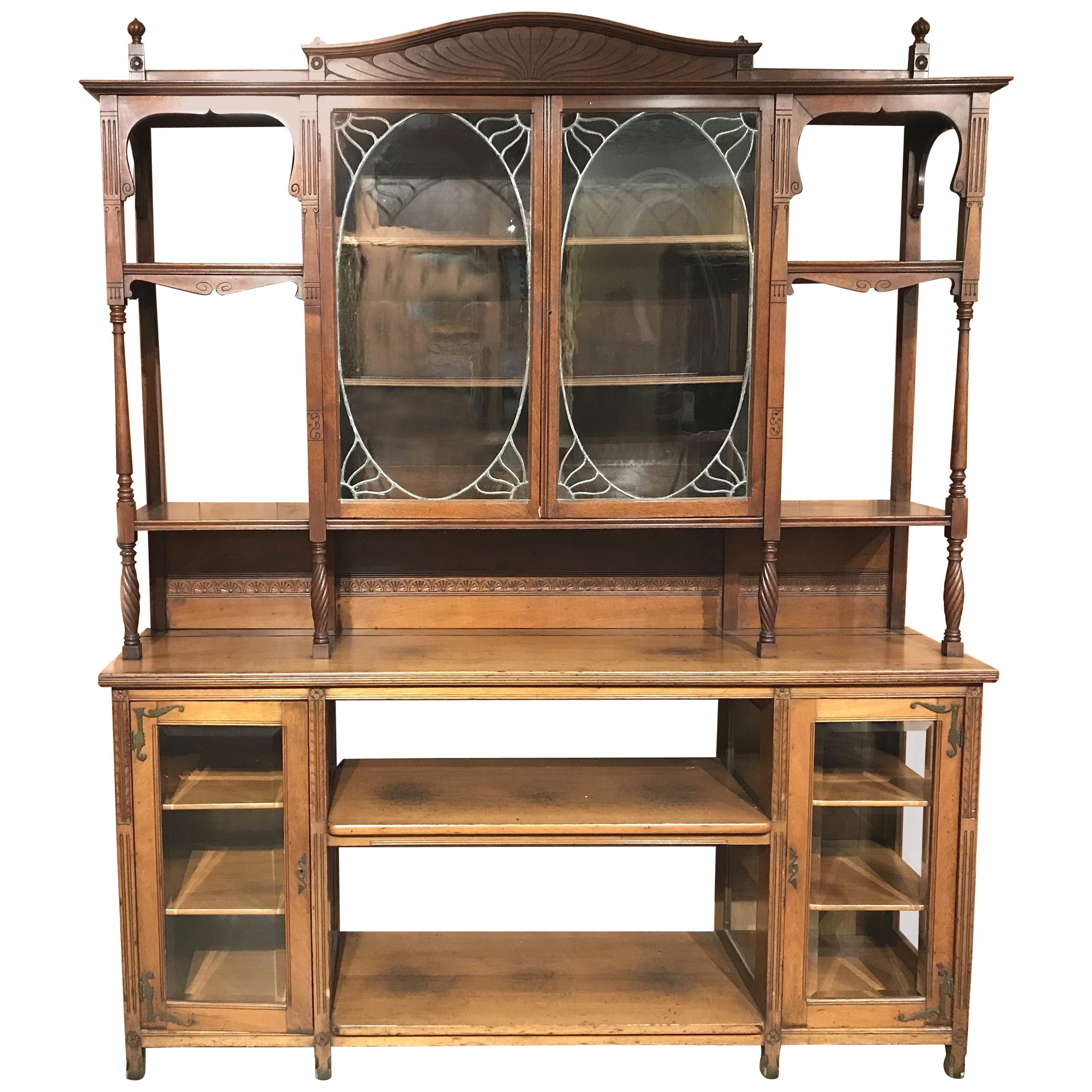 English Art Nouveau Walnut Étagère or Bookcase with Leaded Glass Doors
