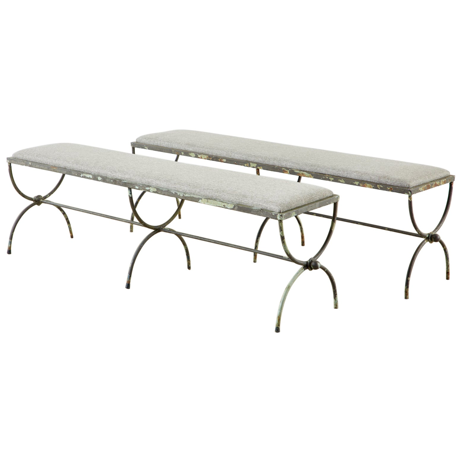 Pair of Neoclassical Style French Iron Curule Leg Benches
