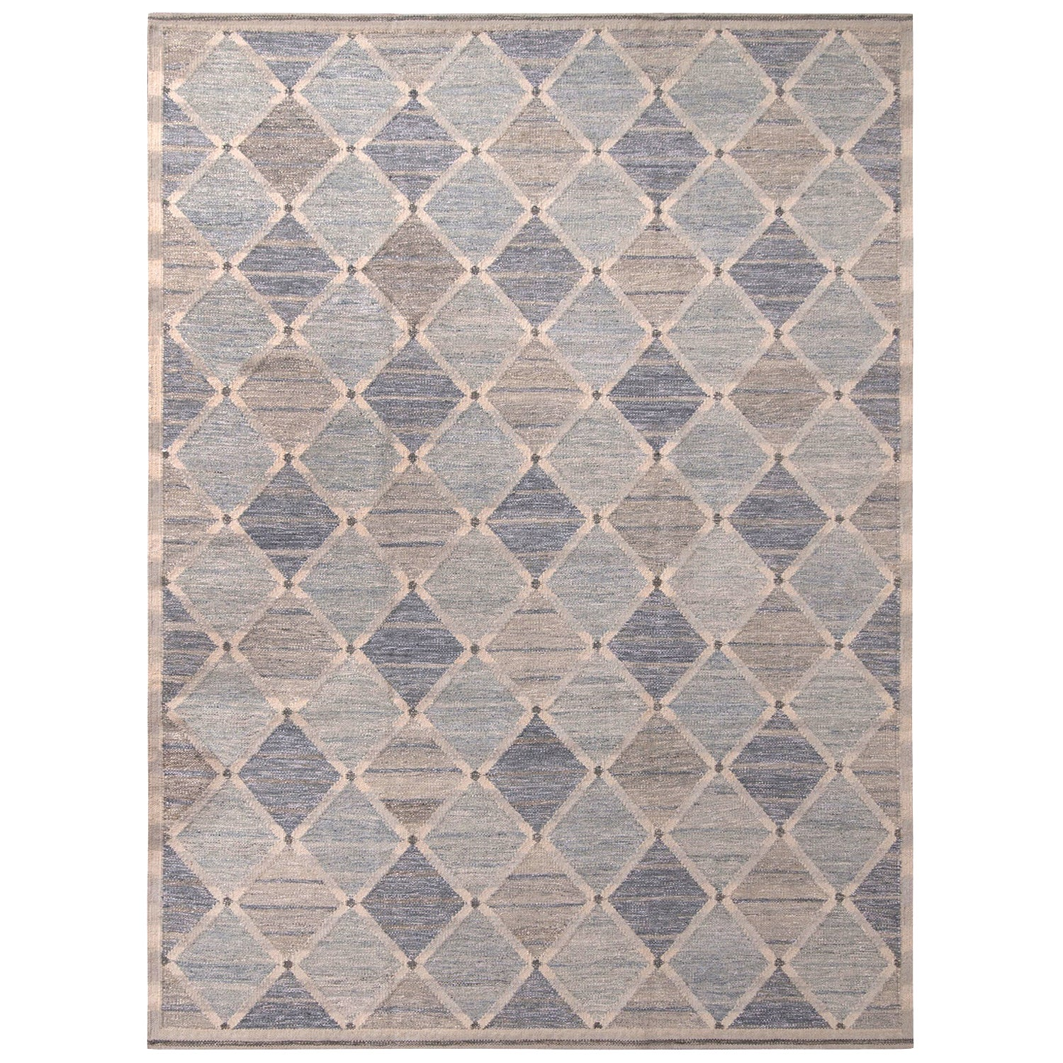 Rug & Kilim's Scandinavian Style Geometric Diamond Gray and Blue Wool Kilim