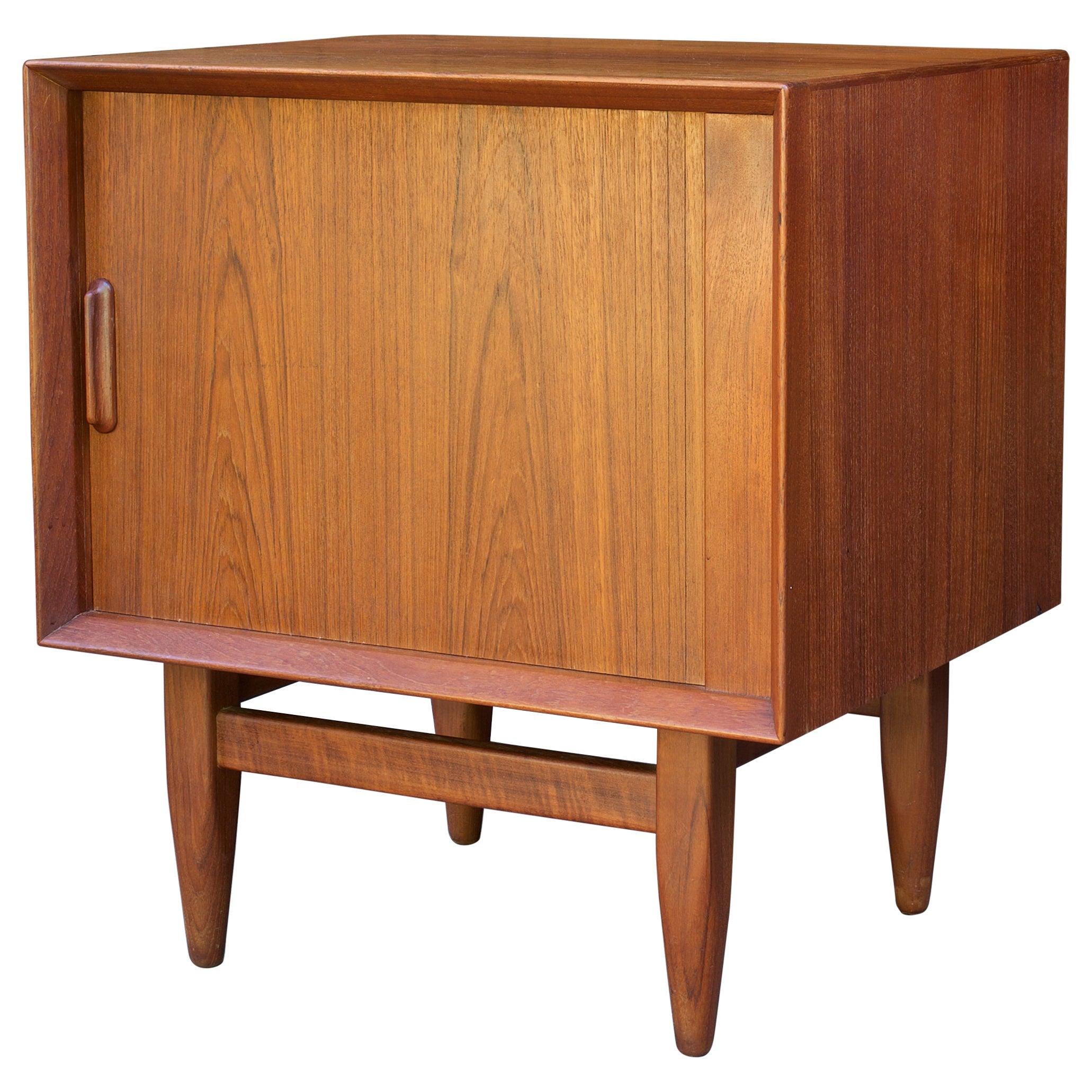 1950s Scandinavian Cabinmodern Teak Tambour Nightstand Bedside Cabinet Credenza