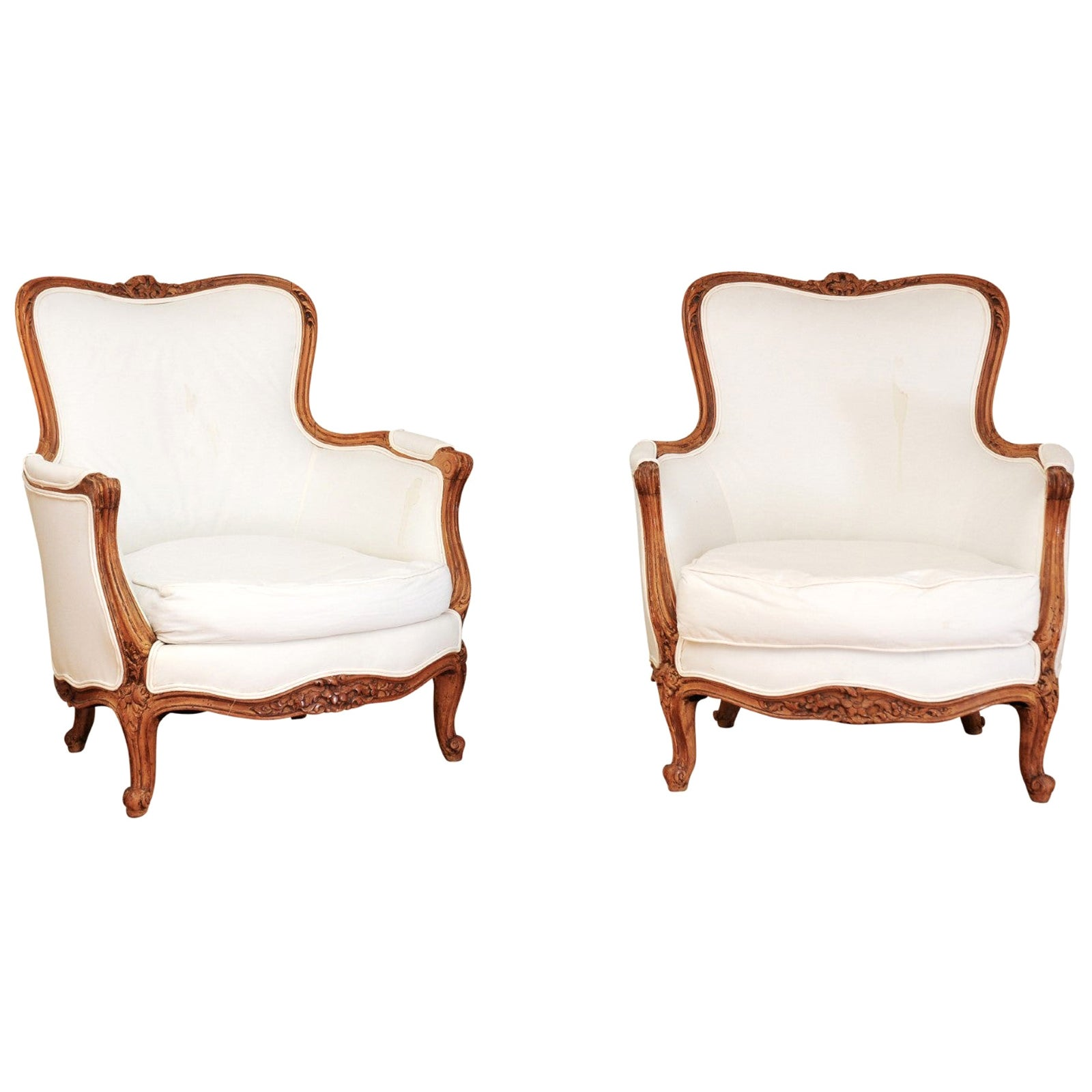 Small Pair of French 19th Century Louis XV Style Walnut Bergères with Upholstery