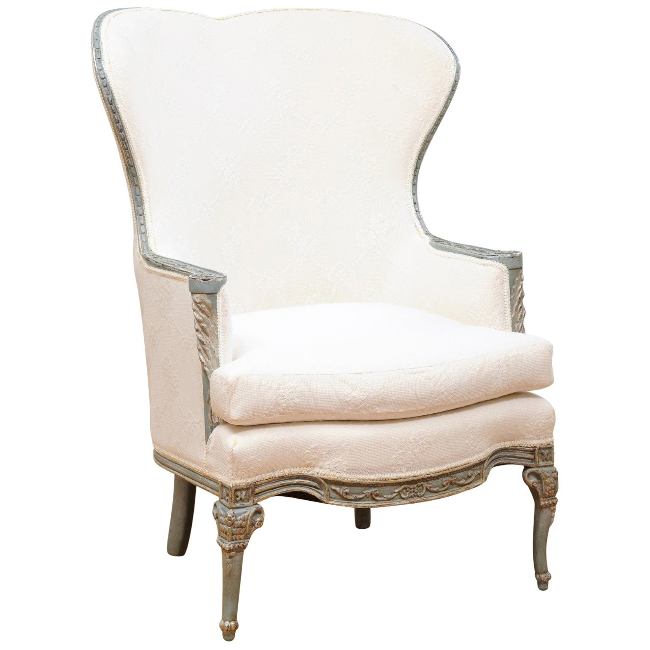 French 1870s Napoleon III Period Wingback Bergère Chair with Carved Decor