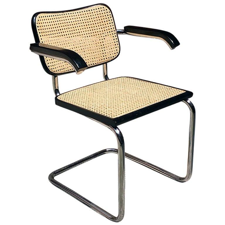 Italian Modern Cesca Chair with Armrests by Marcel Breuer for Gavina, 1970s