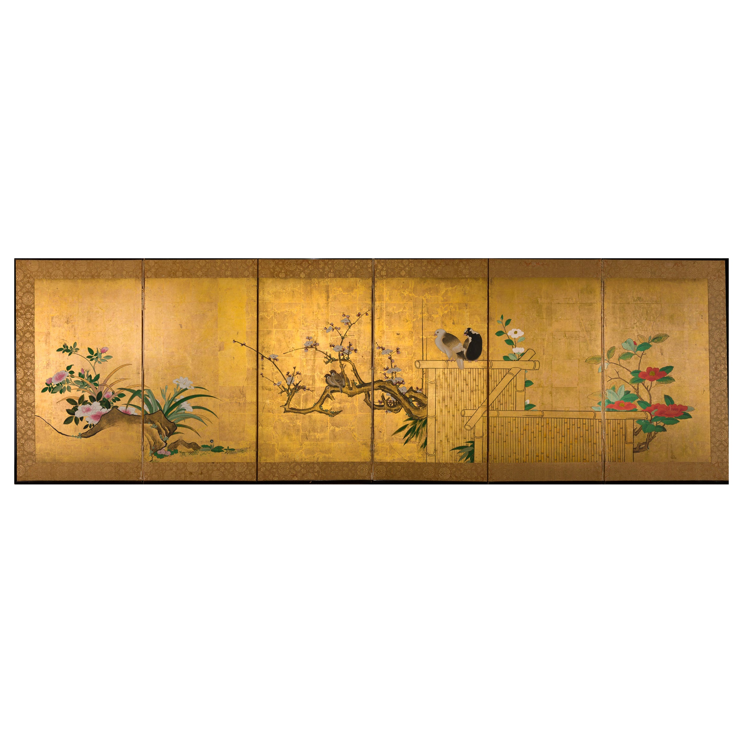 Japanese Six-Panel Screen Late Winter into Early Spring
