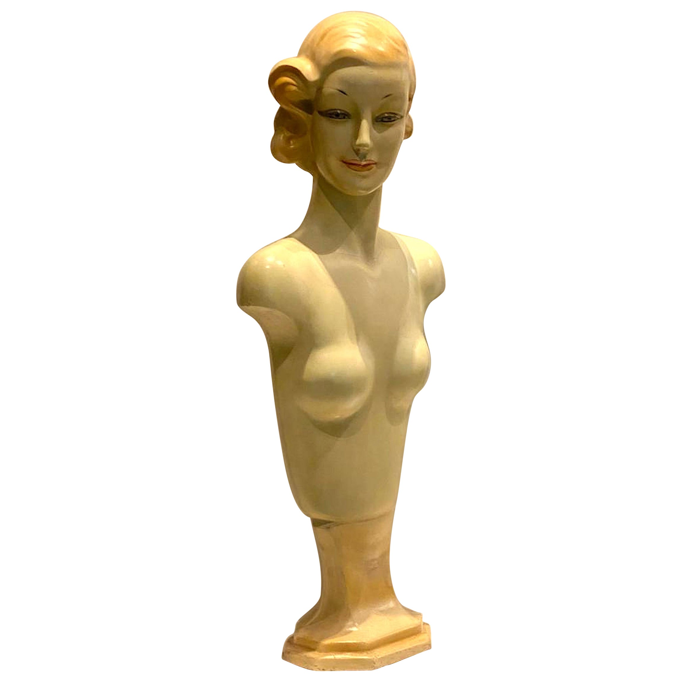 Large French Art Deco Mannequin Display of 1930s Chic Woman