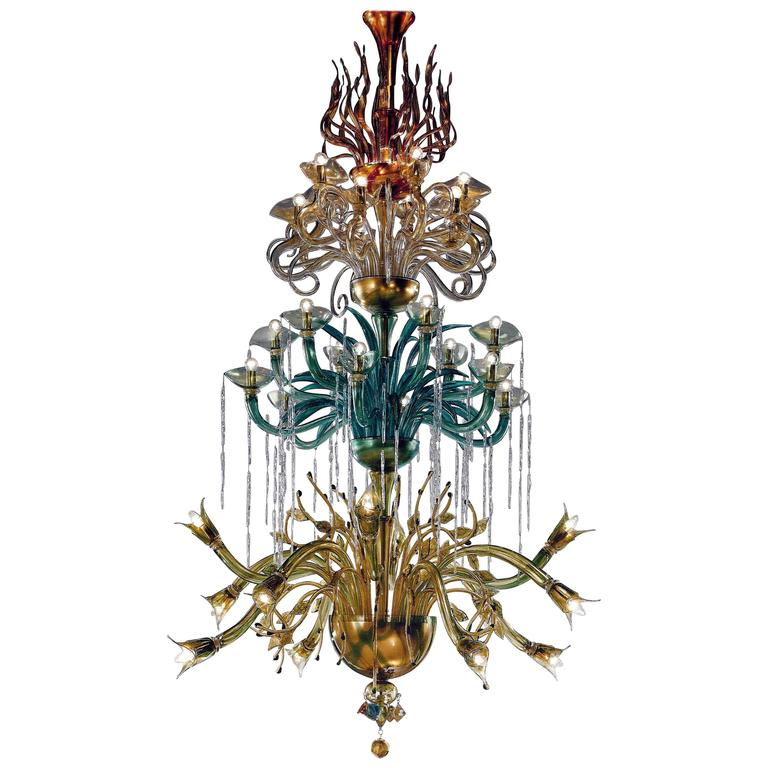 "Monumental Four Elements Venetian Glass Chandelier, ""Earth, Water, Air and Fire"" For Sale"