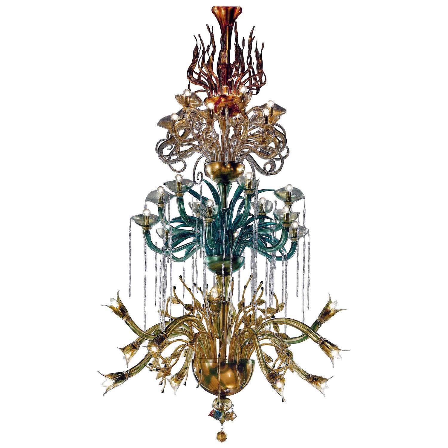 Monumental Four Elements Venetian Glass Chandelier, \