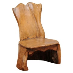 French 1880s Miniature Decorative Carved Walnut Chair with Rustic Appearance