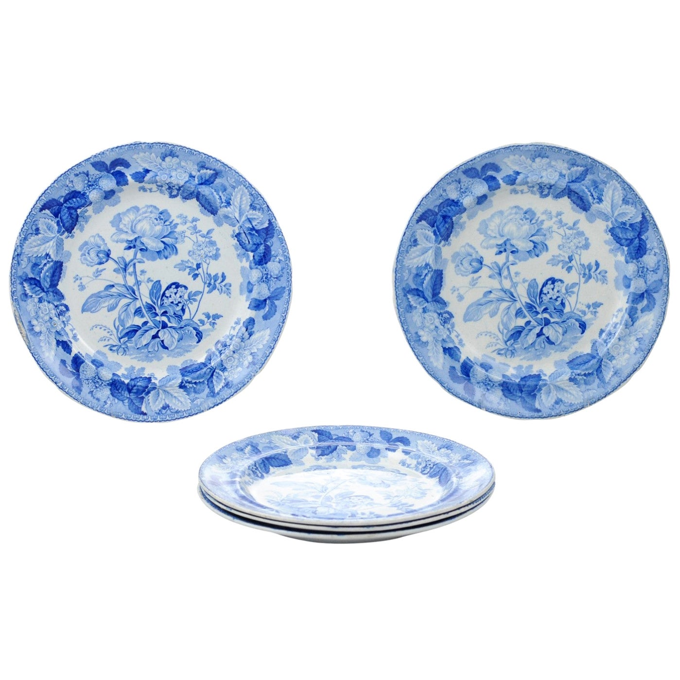 Five English 19th Century Blue and White Porcelain Plates with Floral Pattern